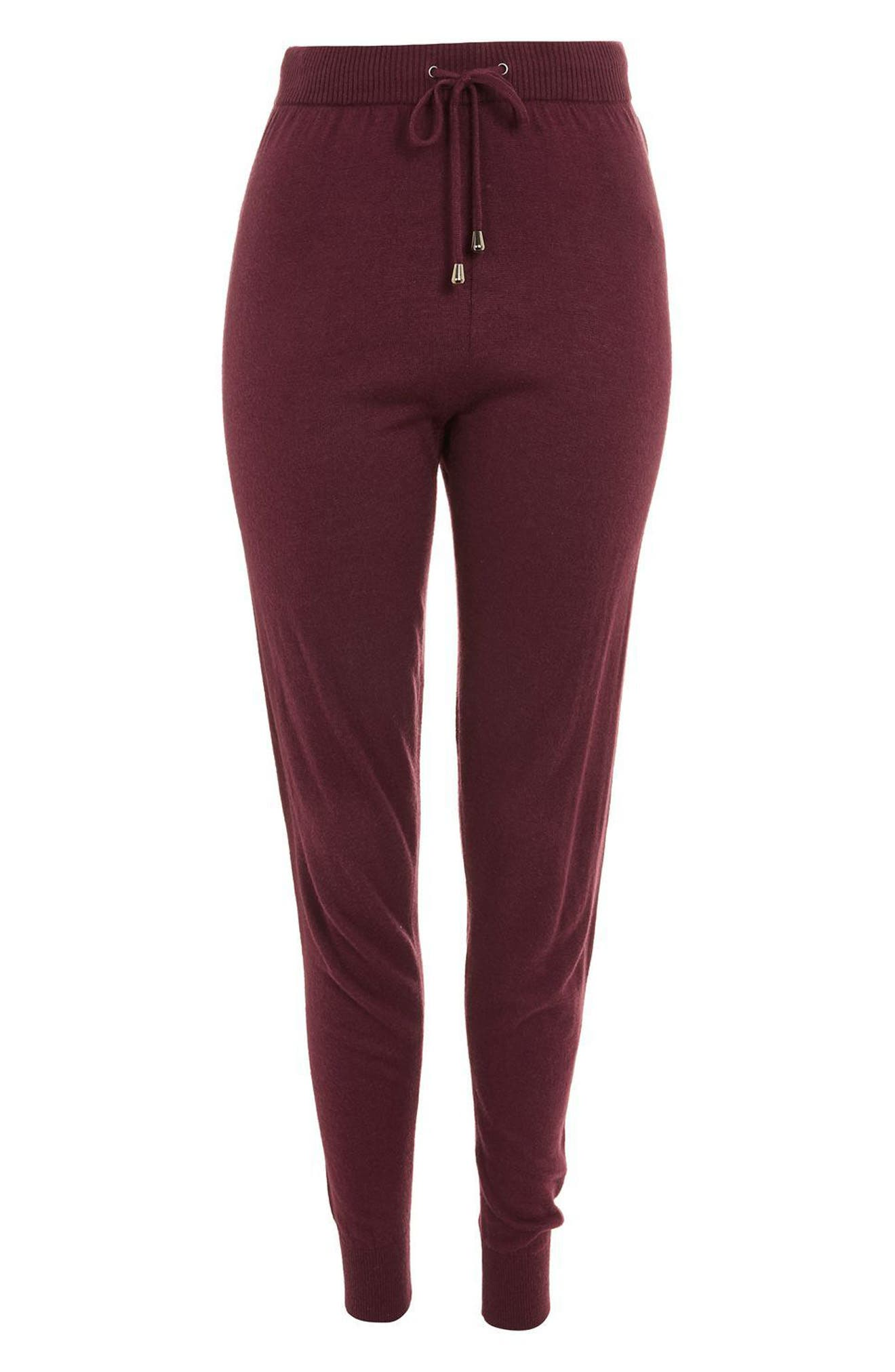 Jogger Lounge Pants,                             Alternate thumbnail 3, color,                             Berry Red