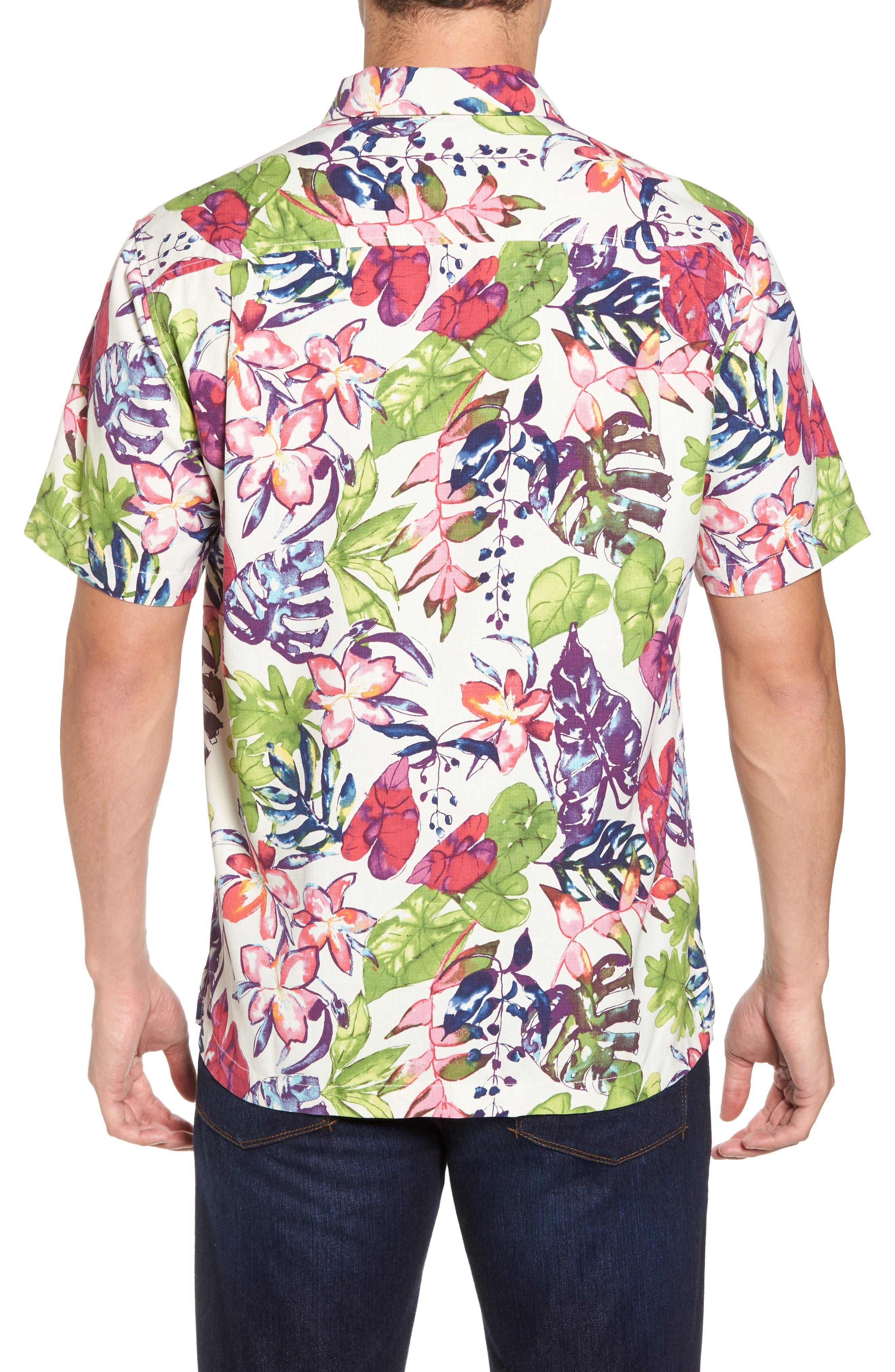 Riviera Garden Floral Silk Blend Camp Shirt,                             Alternate thumbnail 2, color,                             Cloud