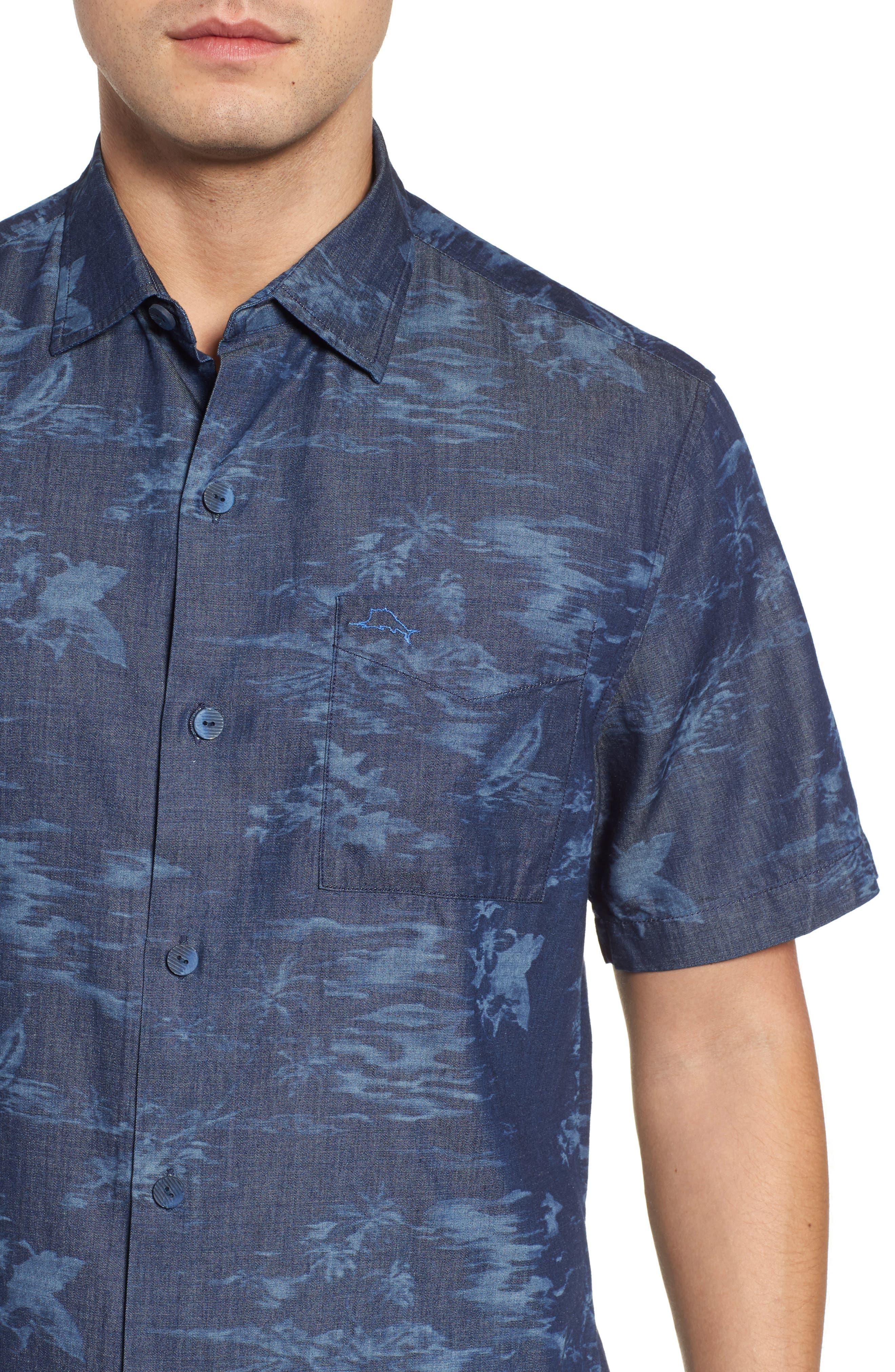 South Beach Scenic Cotton & Silk Camp Shirt,                             Alternate thumbnail 4, color,                             Indigo