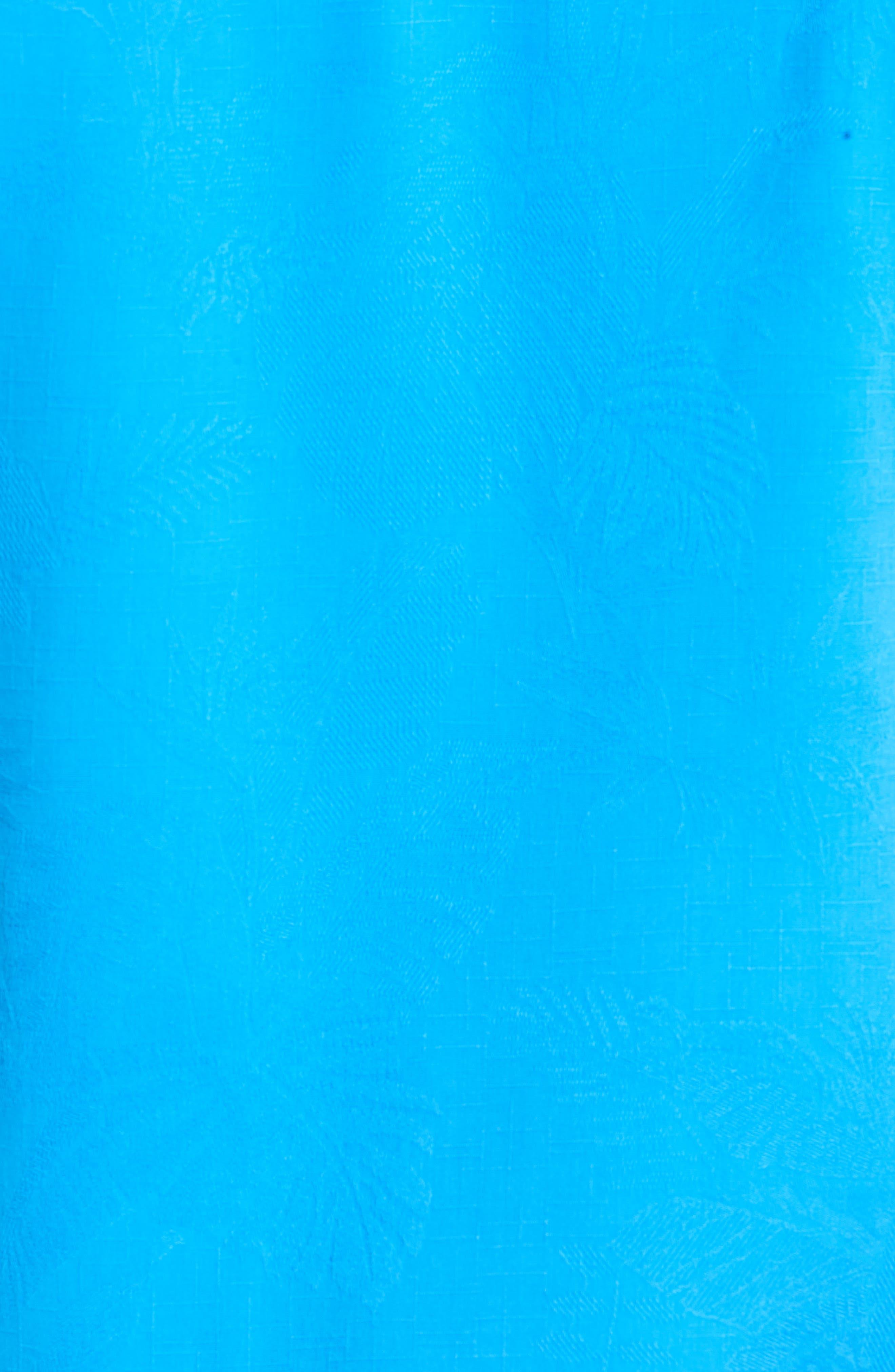 St Lucia Fronds Silk Camp Shirt,                             Alternate thumbnail 4, color,                             Santorini Blue