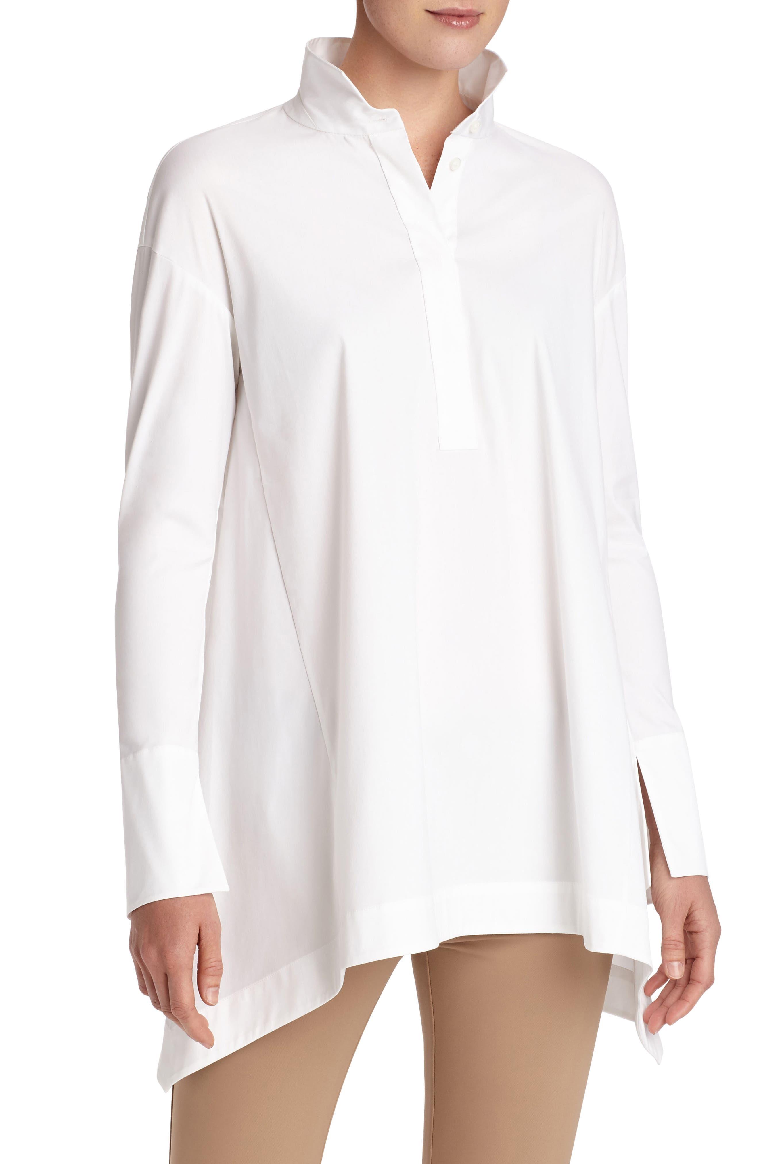Valen Stretch Cotton Blouse,                         Main,                         color, White
