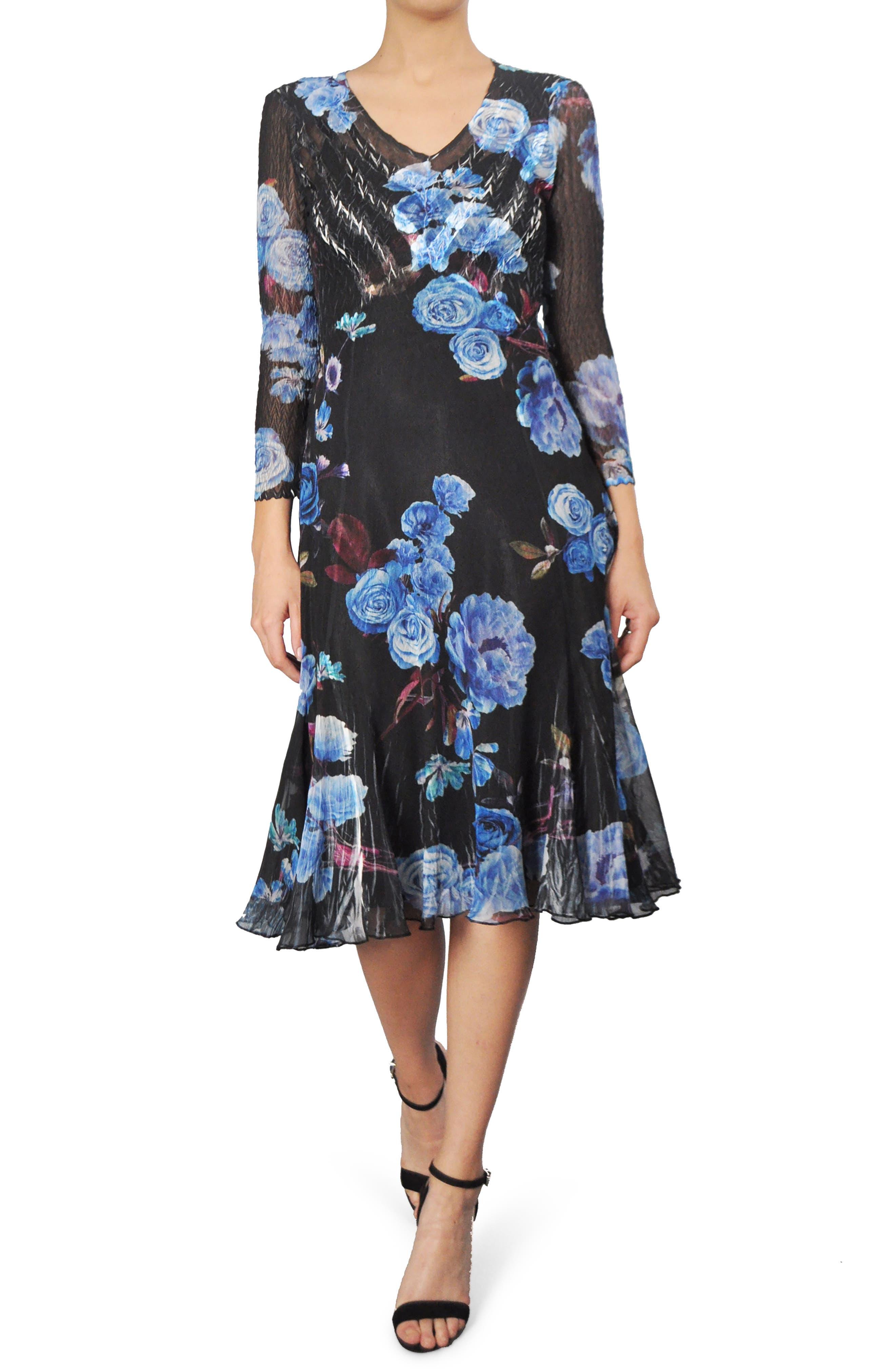 Alternate Image 1 Selected - Komarov Print Chiffon A-Line Dress