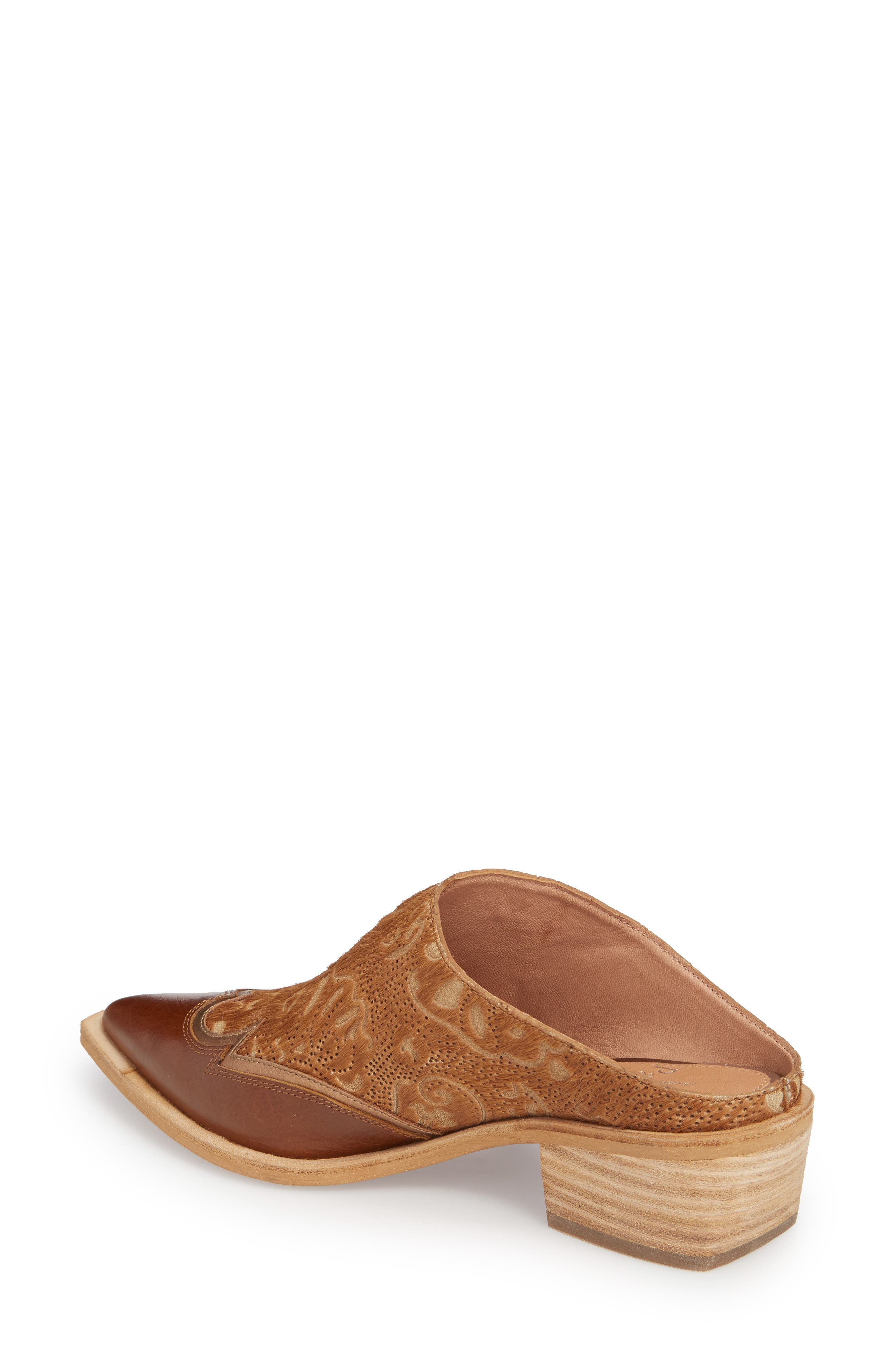 Waylon Genuine Calf Hair Western Mule,                             Alternate thumbnail 2, color,                             Camel Leather