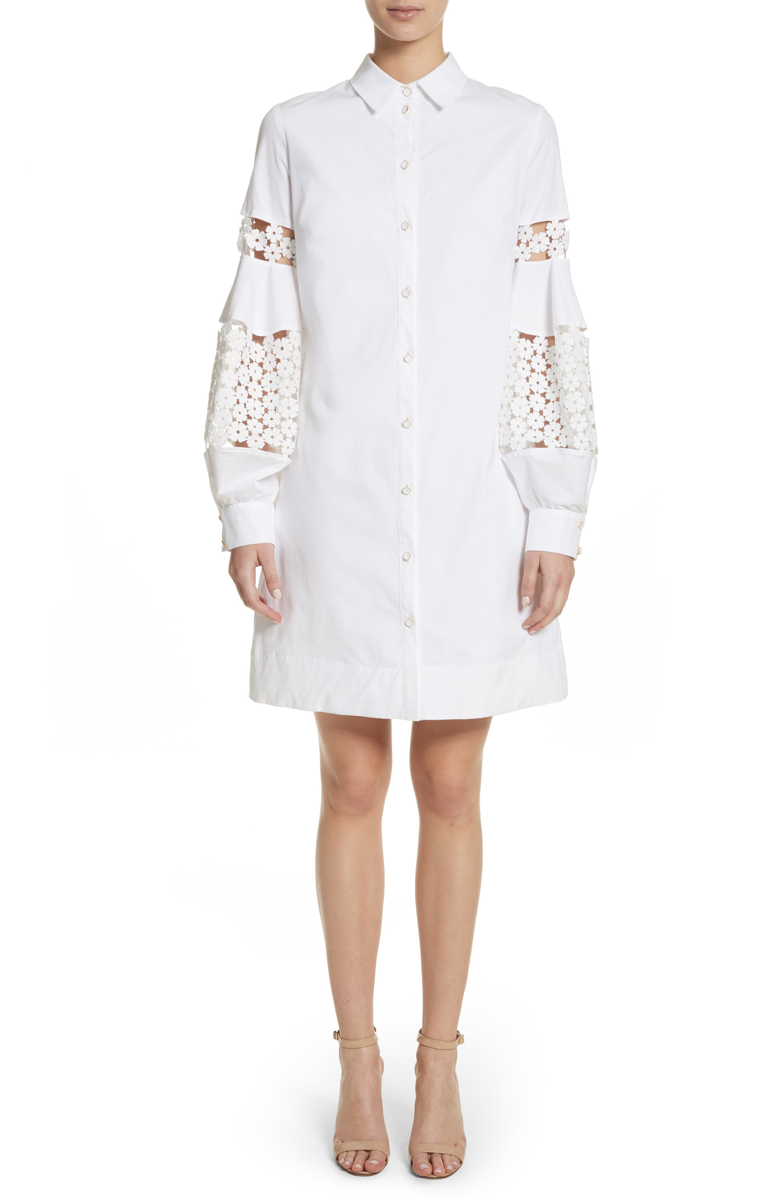 Lace Inset Puff Sleeve Shirtdress,                         Main,                         color, White