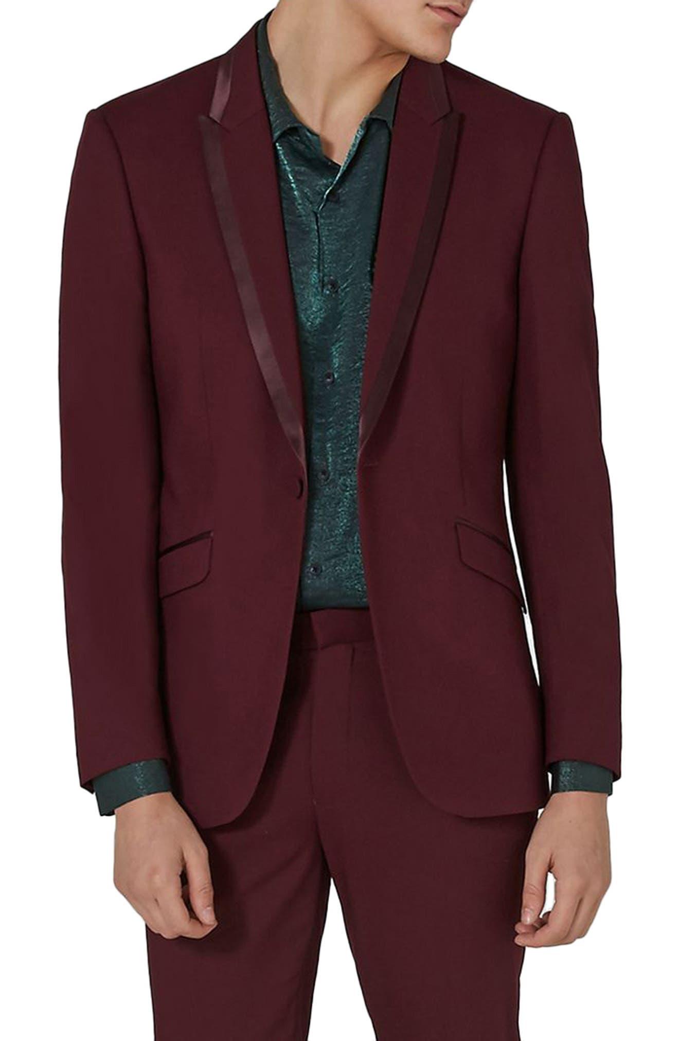 Main Image - Topman Skinny Fit Burgundy Tuxedo Jacket