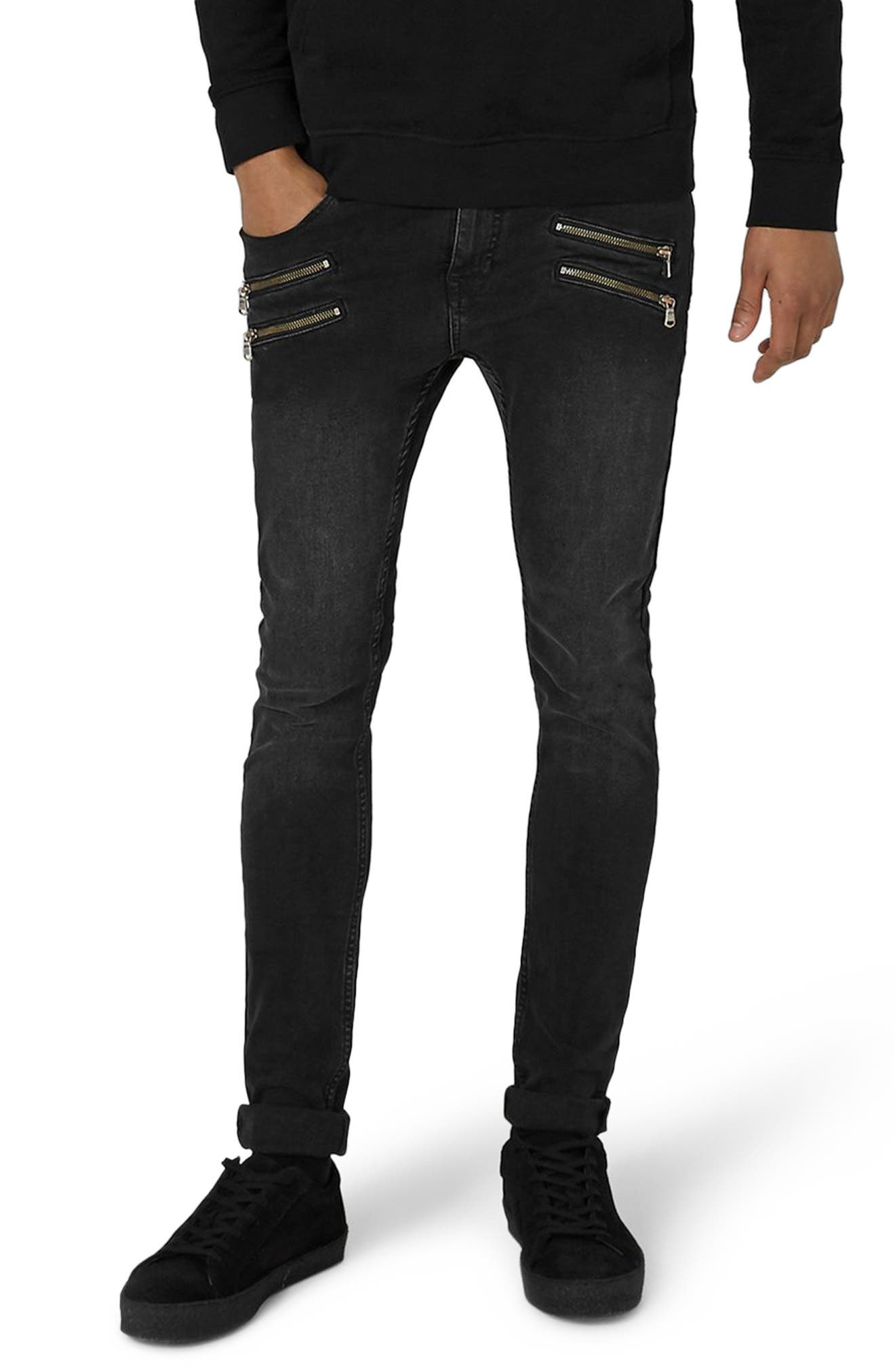 Double Zip Spray-On Jeans,                         Main,                         color, Black