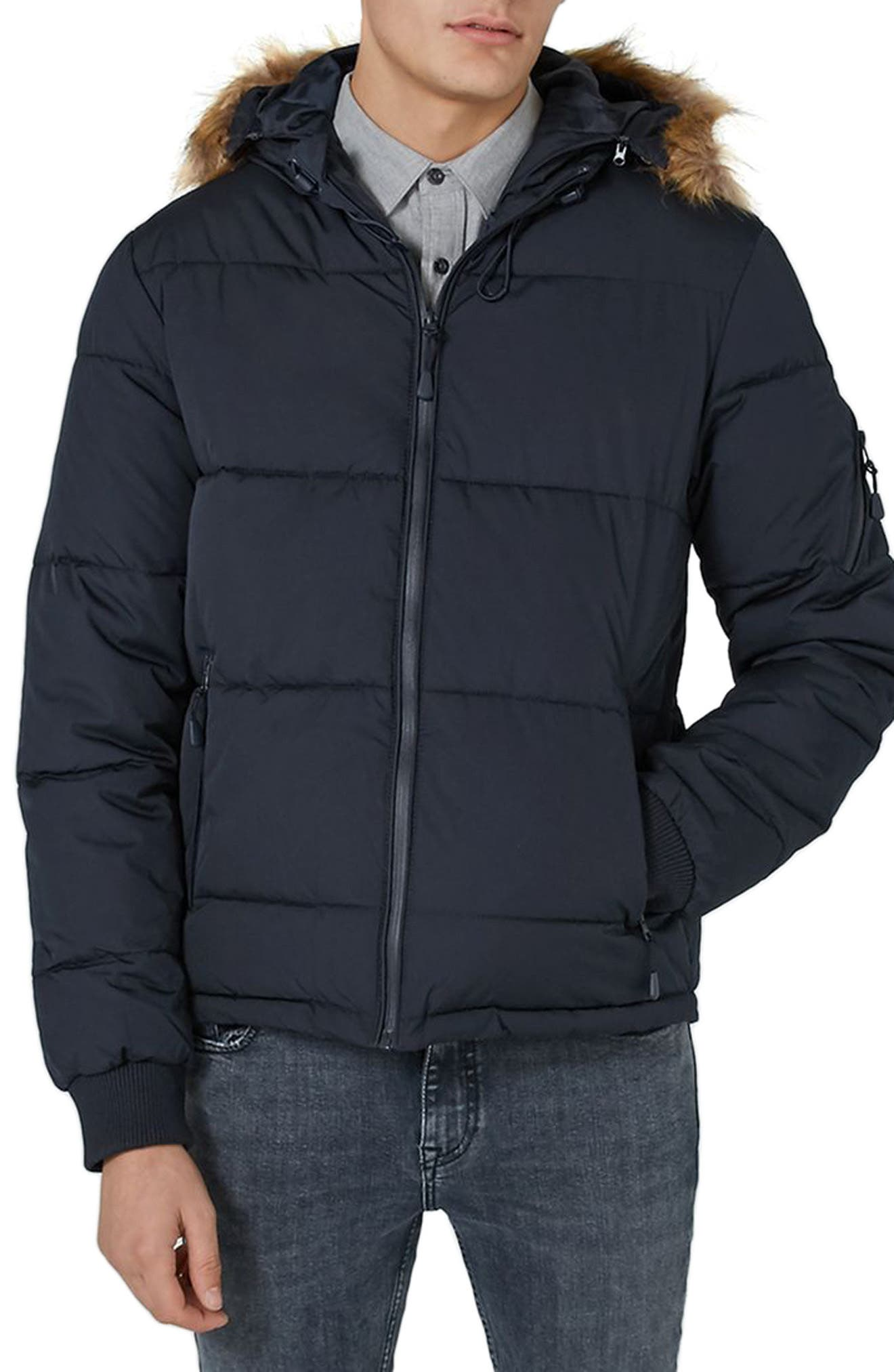 Main Image - Topman Maguire Hooded Puffer Coat with Faux Fur Trim