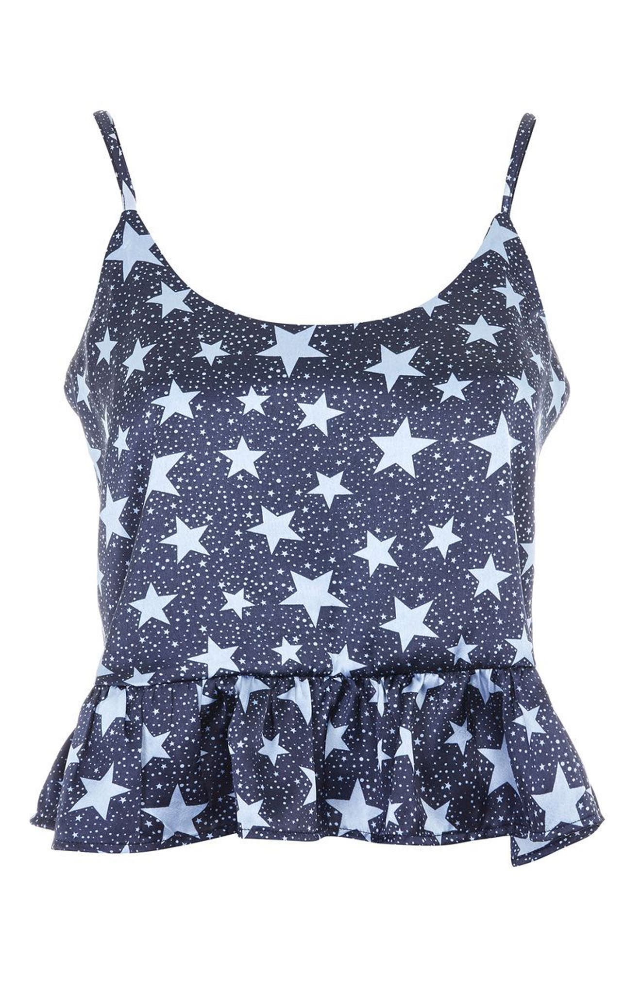 Star Satin Pajamas,                             Alternate thumbnail 2, color,                             Navy Blue Multi