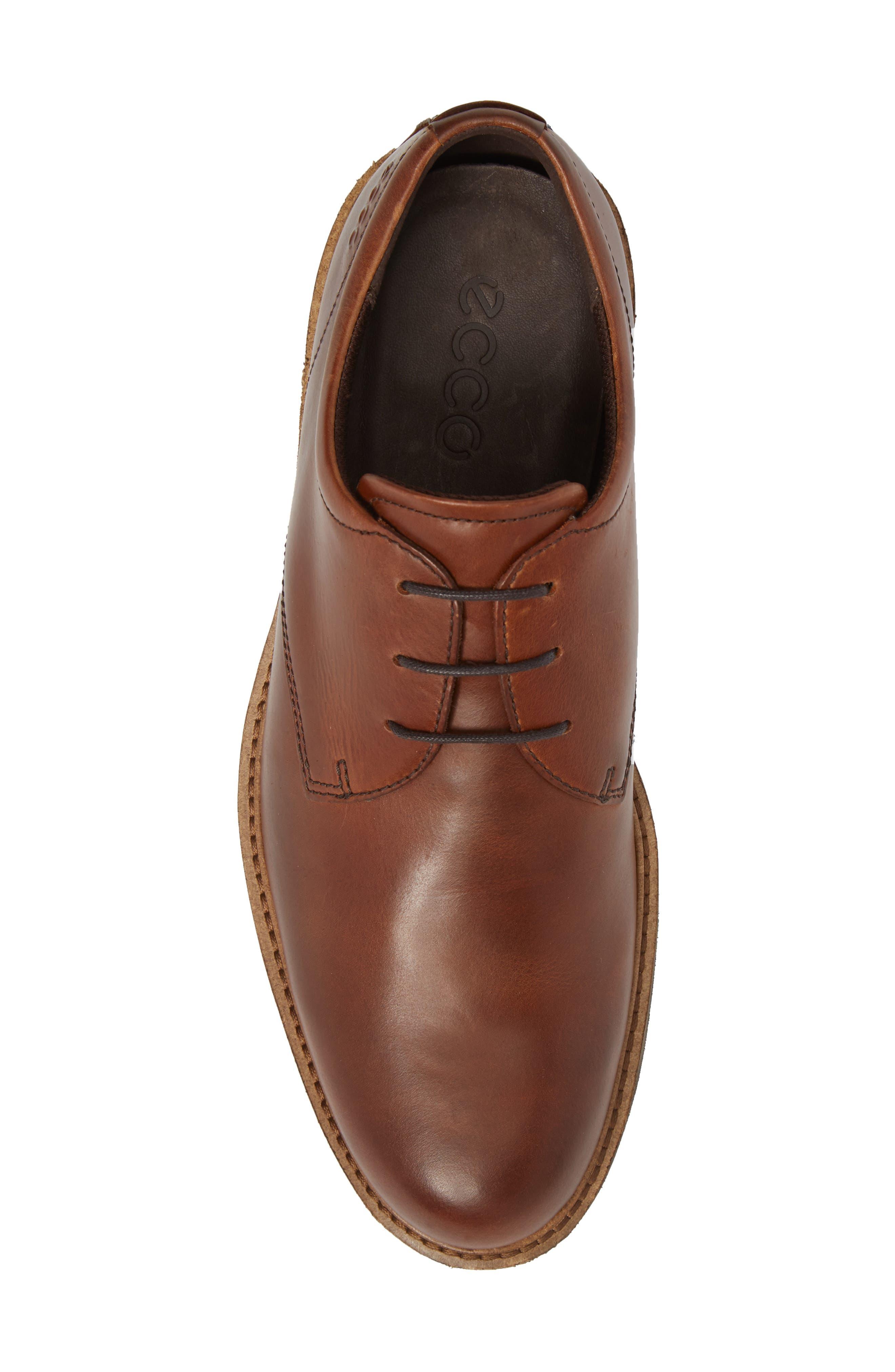 Findlay Plain Toe Derby,                             Alternate thumbnail 5, color,                             Cognac Leather