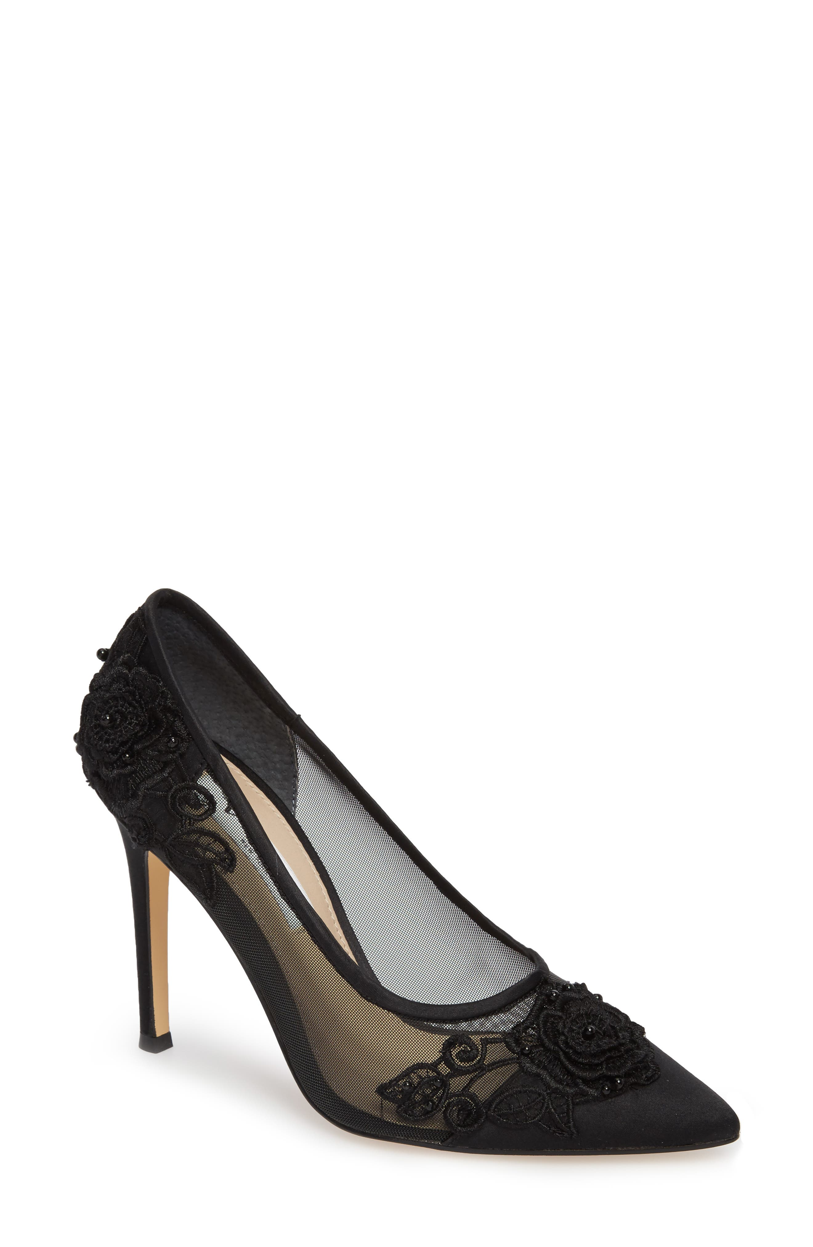 Donela Pump,                             Main thumbnail 1, color,                             Black Satin