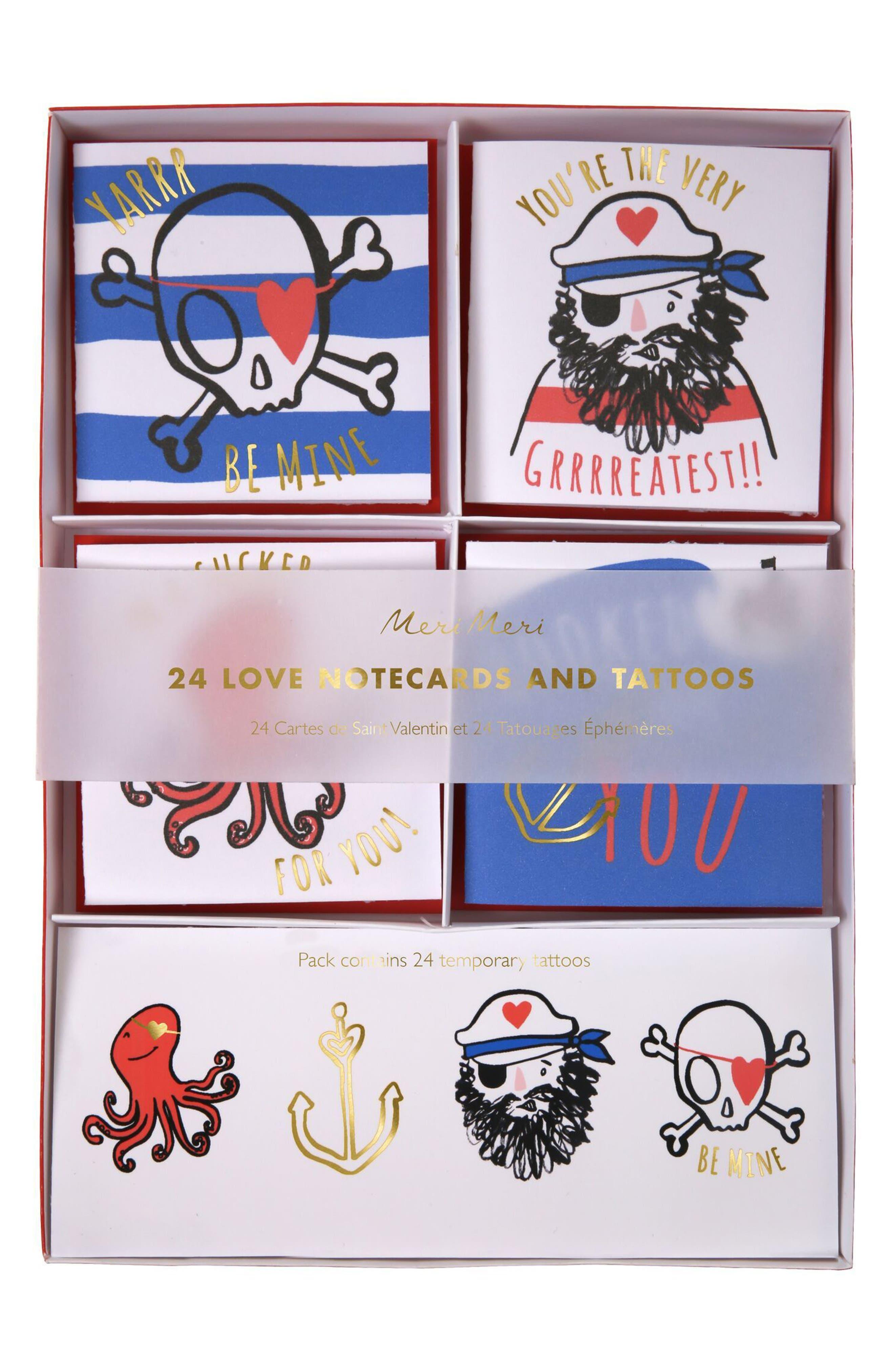 Meri Meri Set of 24 Pirate Valentine Cards & Tattoos