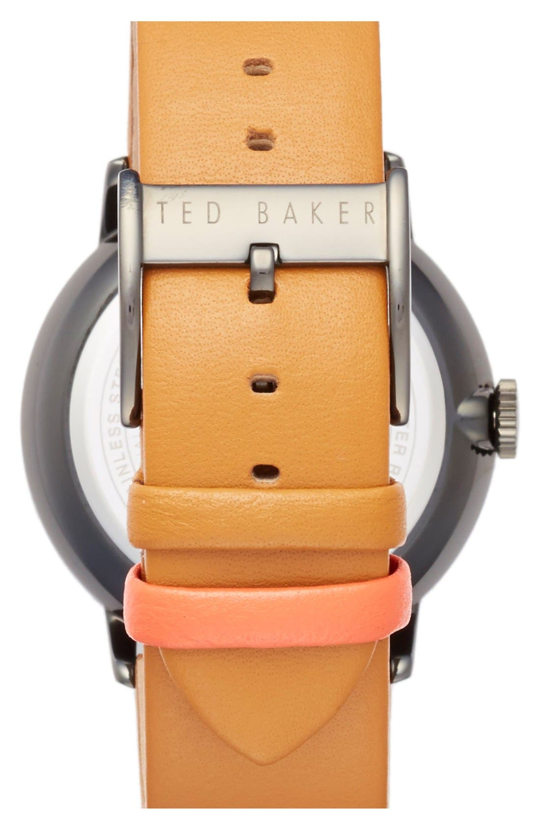 Alternate Image 2  - Ted Baker London Multifunction Leather Strap Watch, 42mm