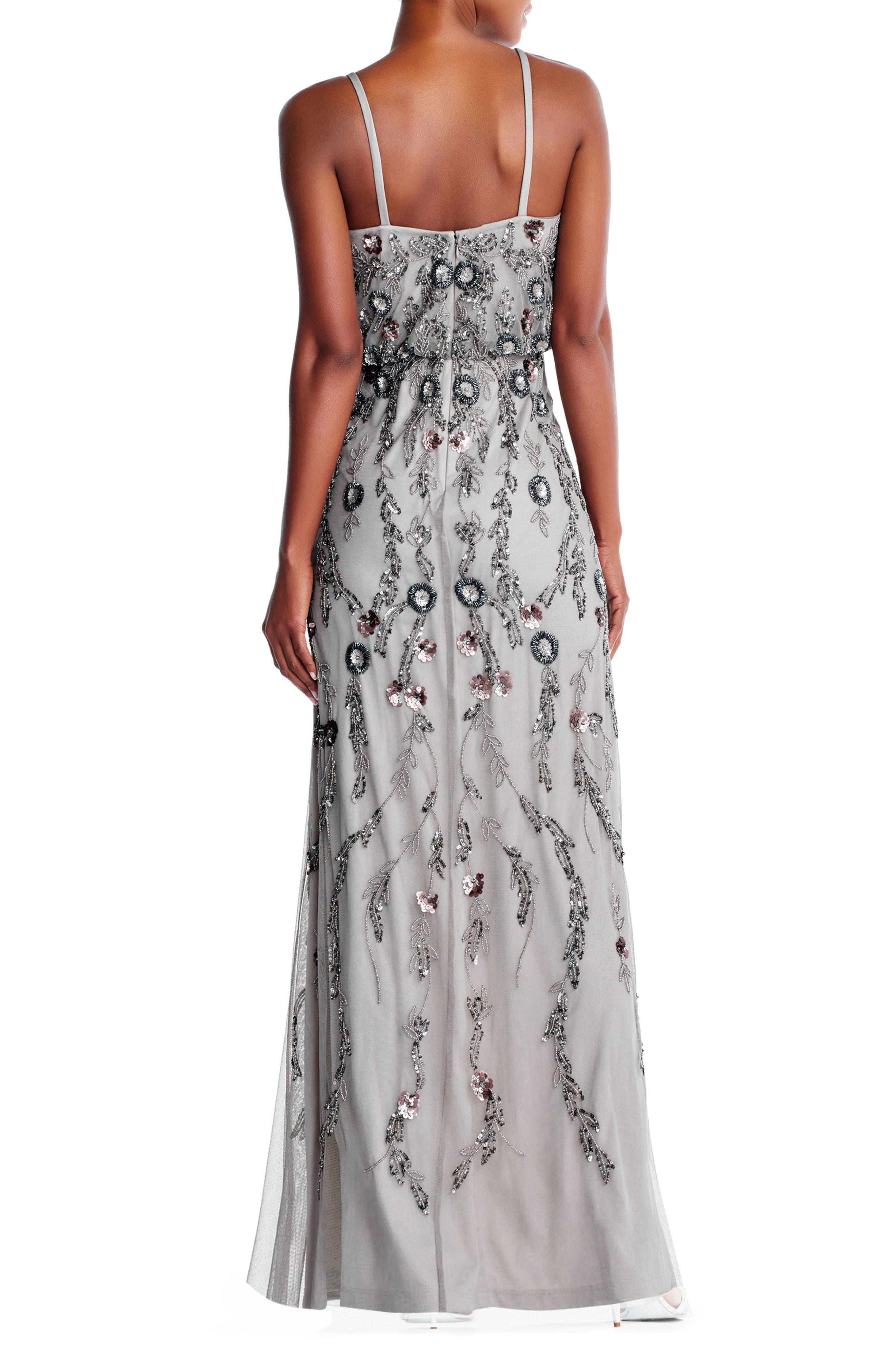 Mesh Blouson Gown,                             Alternate thumbnail 3, color,                             Platinum Multi