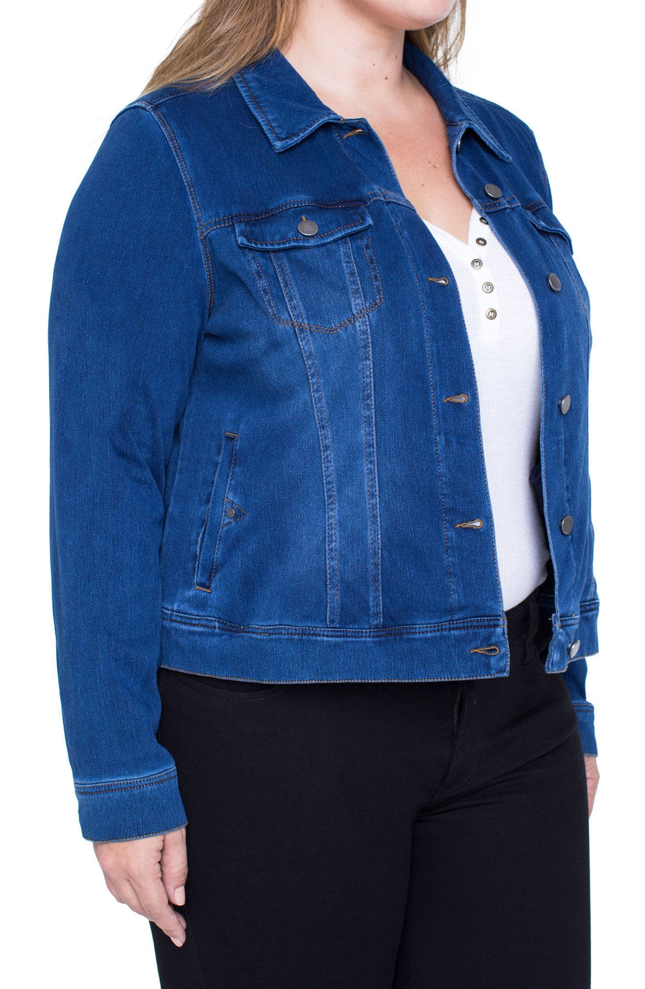 Alternate Image 3  - Liverpool Jeans Company Denim Knit Jacket (Plus Size)