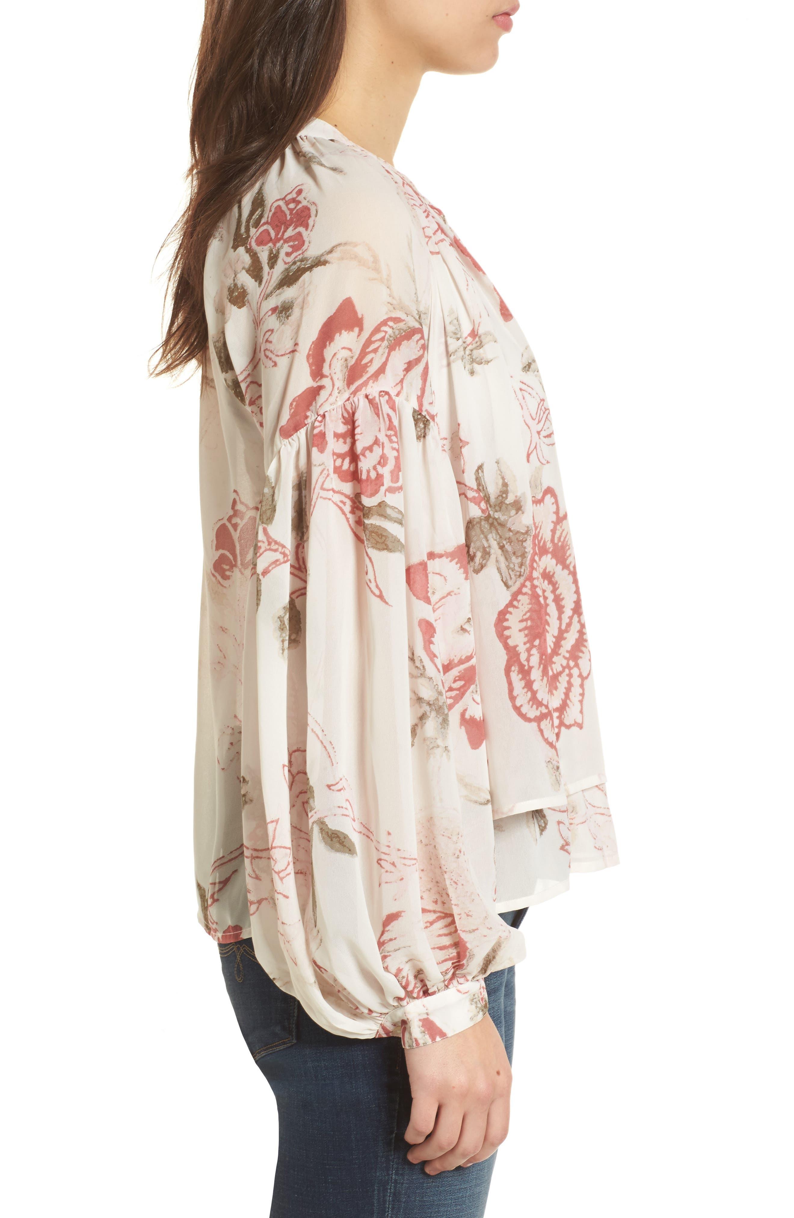 Alternate Image 3  - Lucky Brand Floral Print Ruffle Hem Blouse