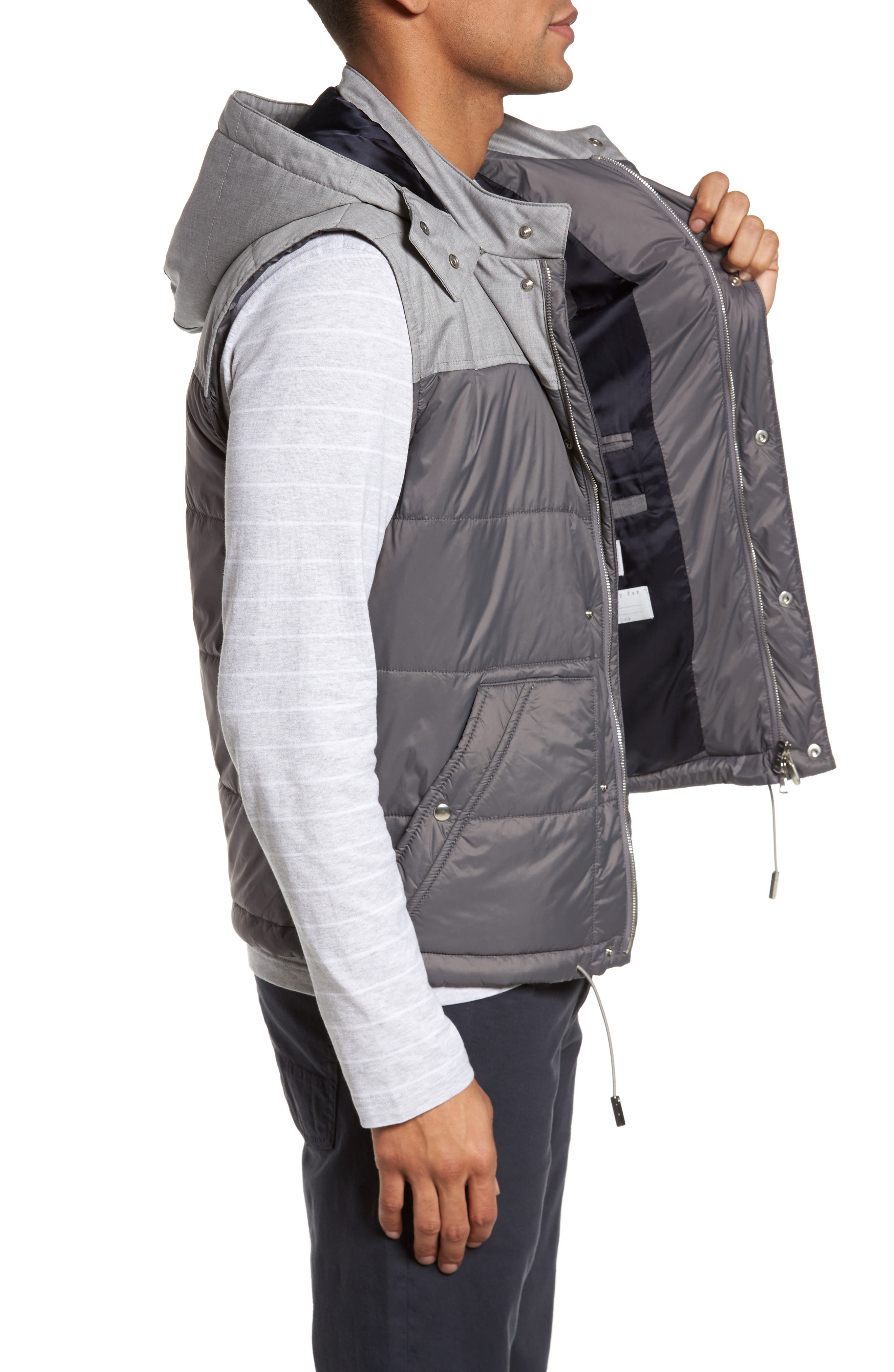 Mixed Media Quilted Vest,                             Alternate thumbnail 3, color,                             Grey