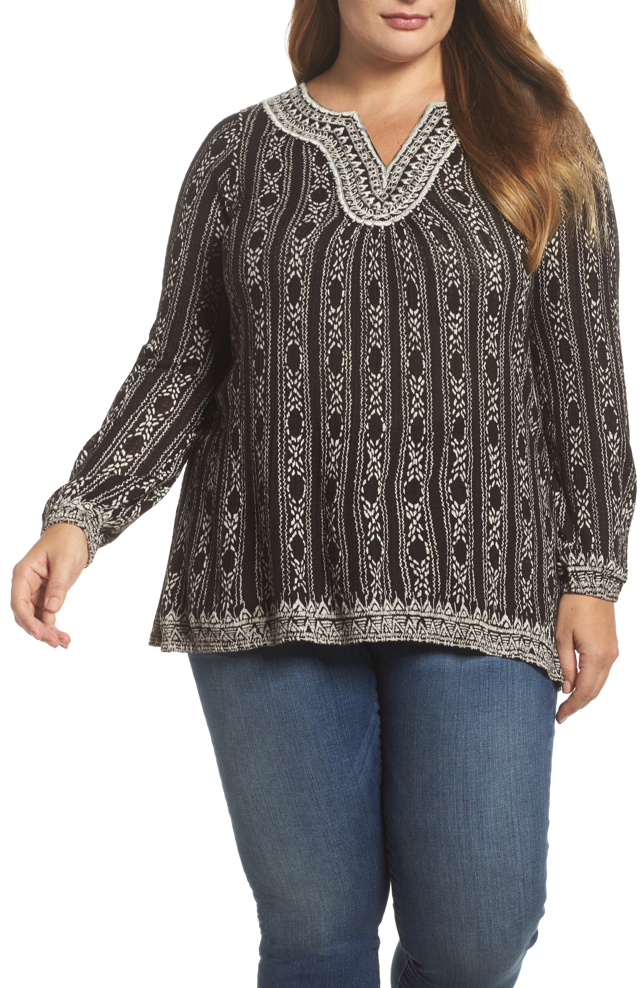 Main Image - Lucky Brand Drop Needle Embroidered Top (Plus Size)
