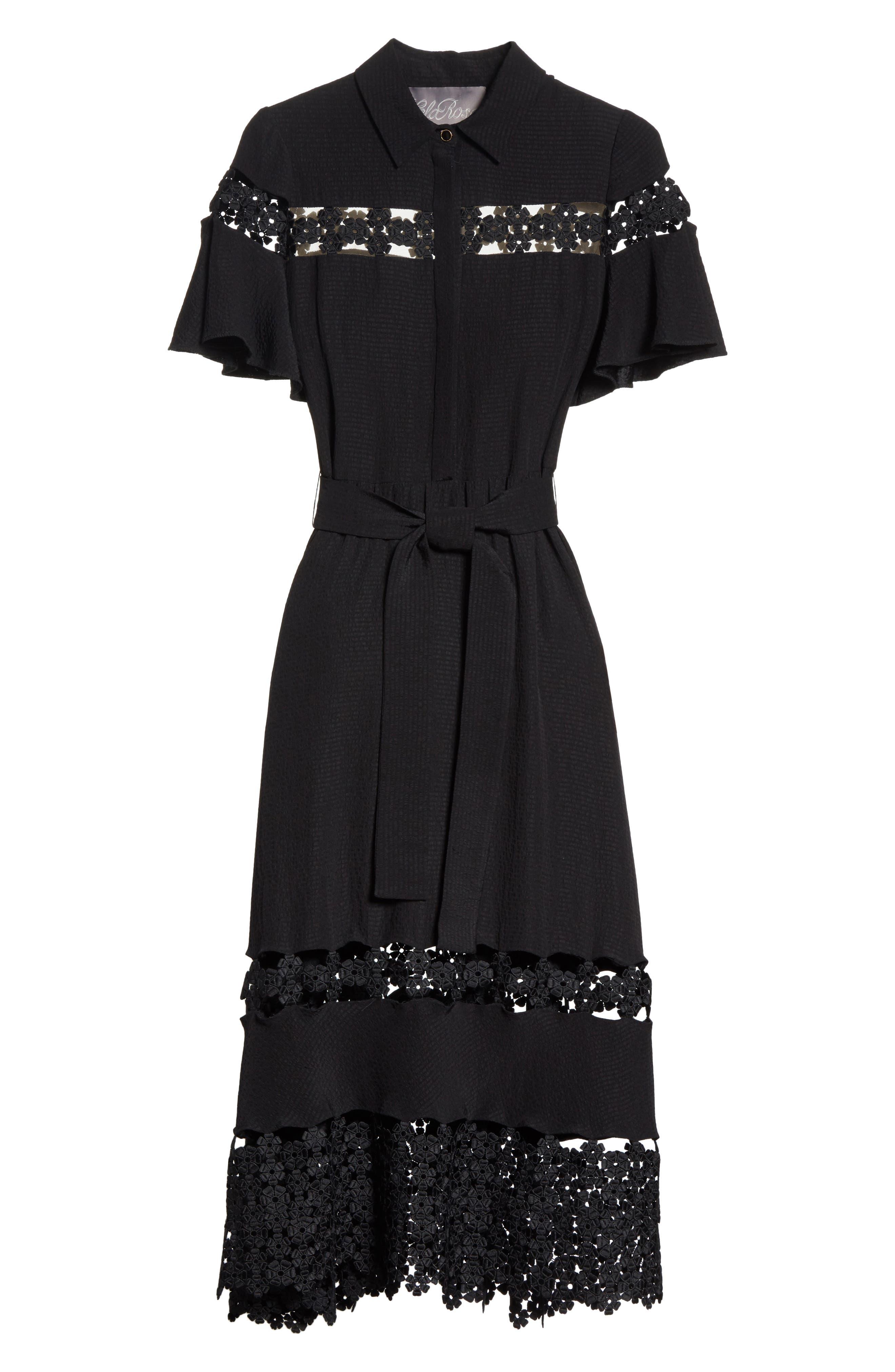 Lace Inset Flutter Sleeve Shirtdress,                             Alternate thumbnail 7, color,                             Black