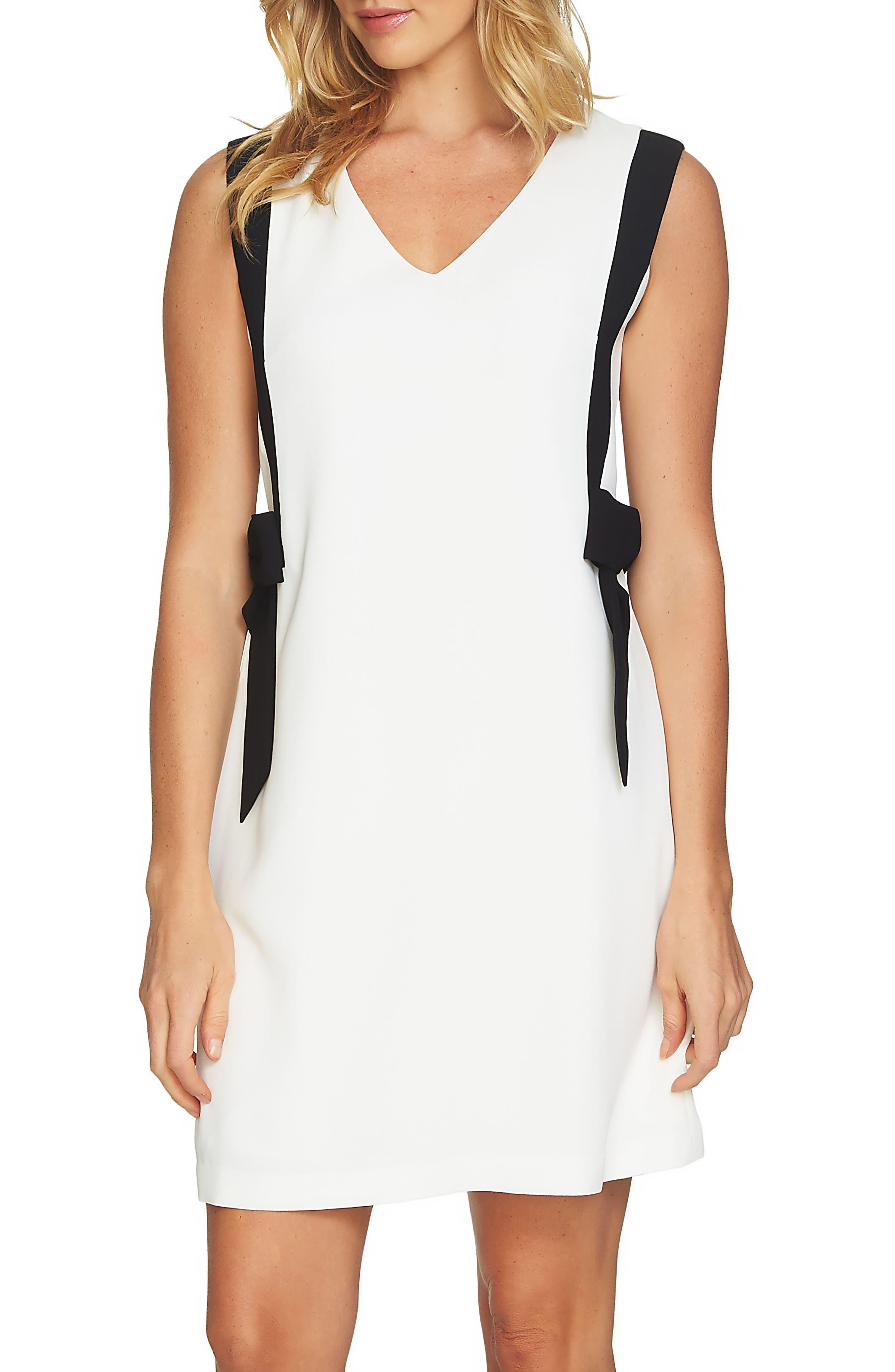 Colorblock V-Neck Dress,                         Main,                         color, Antique White