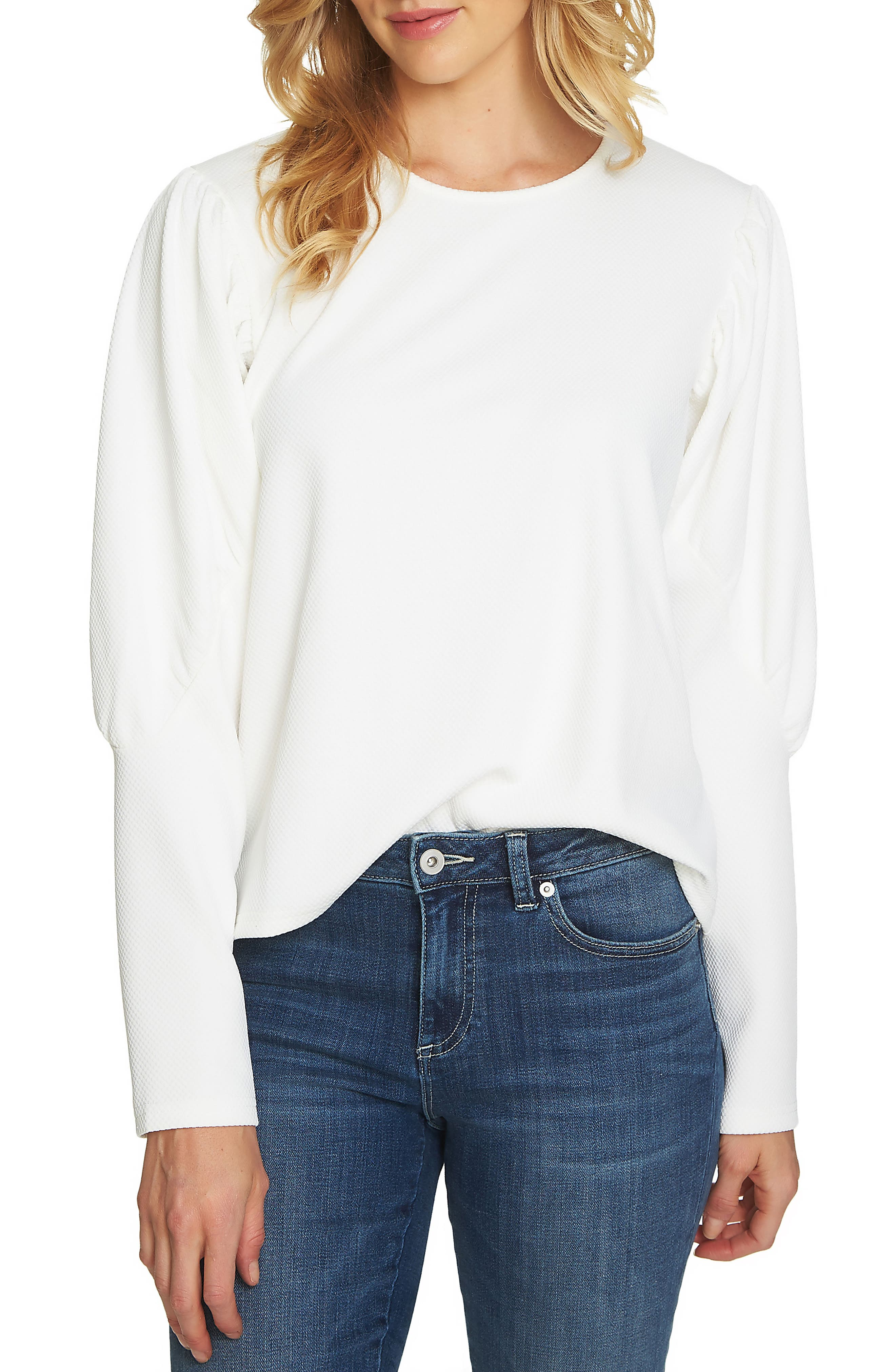 Puffed Shoulder Top,                         Main,                         color, Antique White