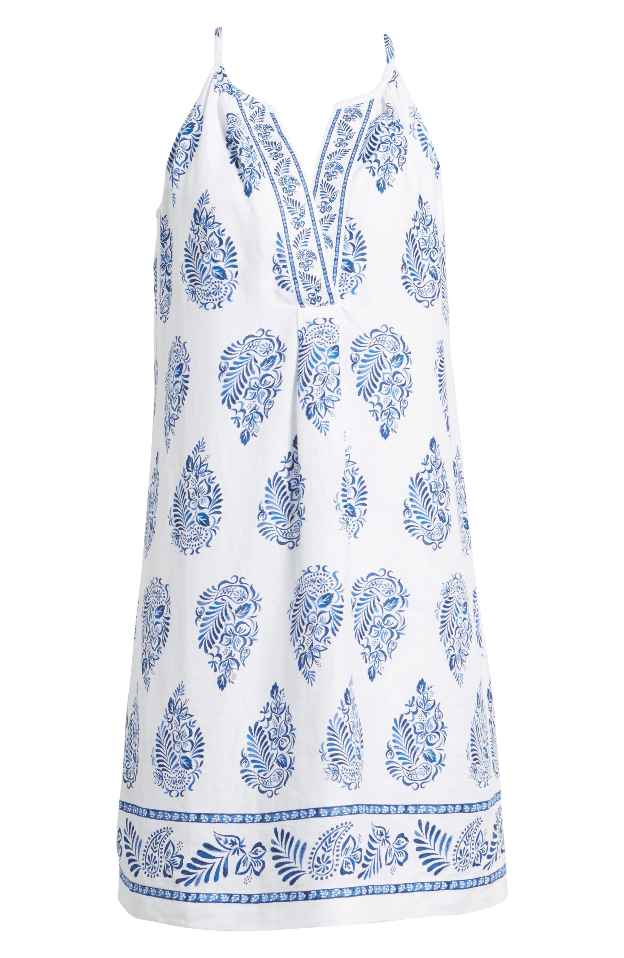 Paleys Paisley Sleeveless Shift Dress,                             Alternate thumbnail 6, color,                             Cobalt