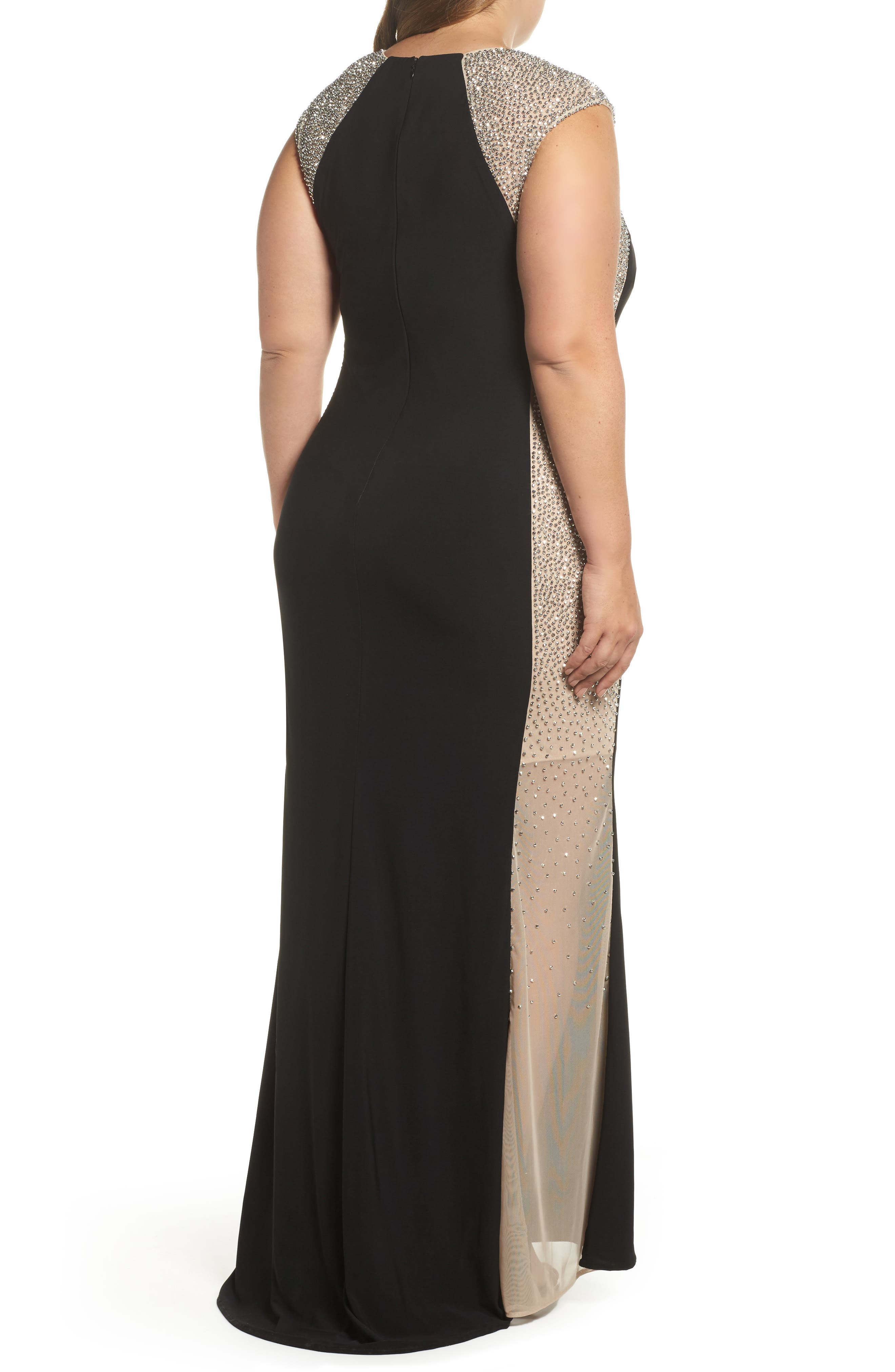 Beaded High Neck Column Gown,                             Alternate thumbnail 2, color,                             Black/ Nude/ Silver