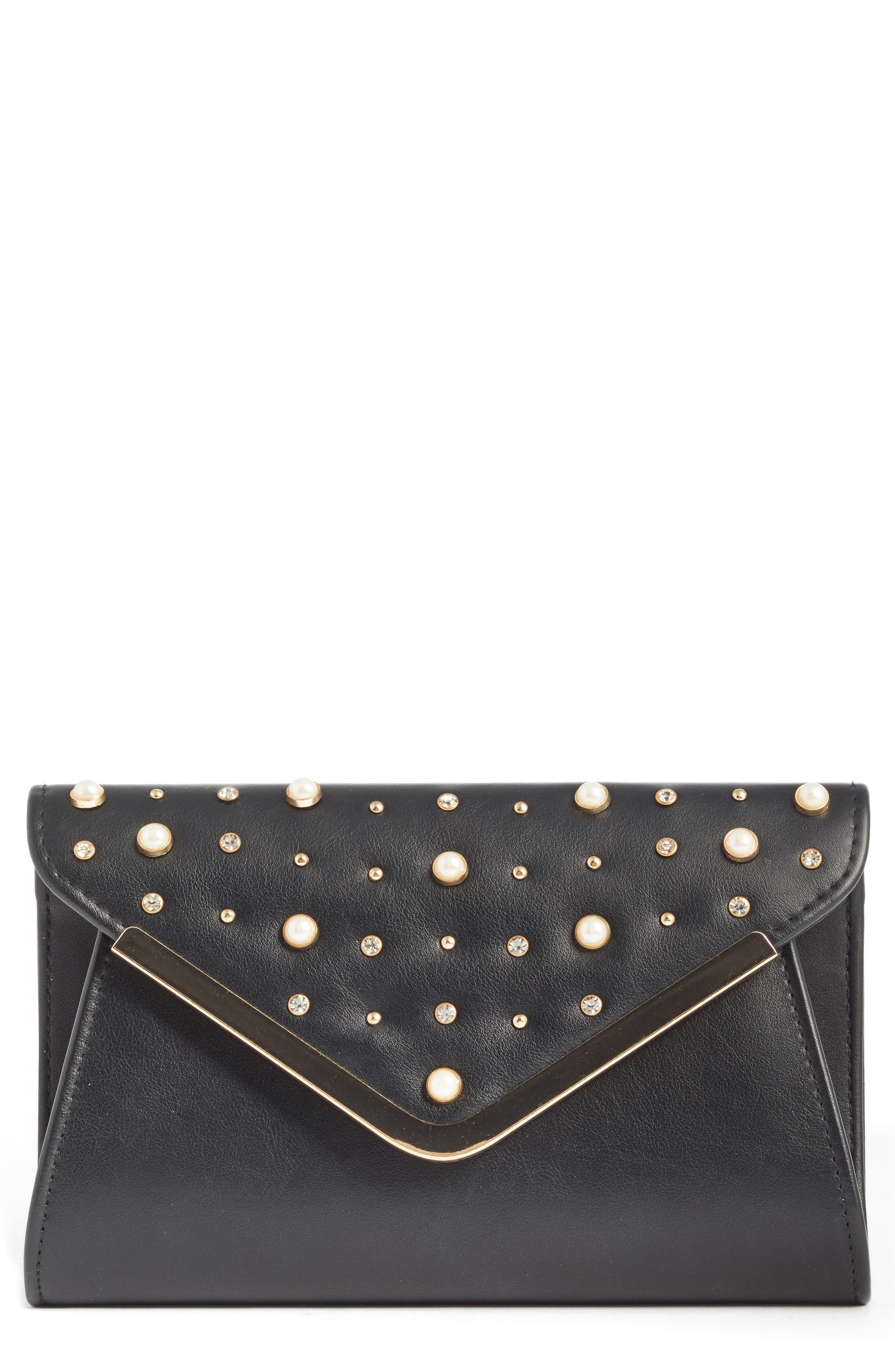 Studded Faux Leather Clutch,                             Main thumbnail 1, color,                             Black