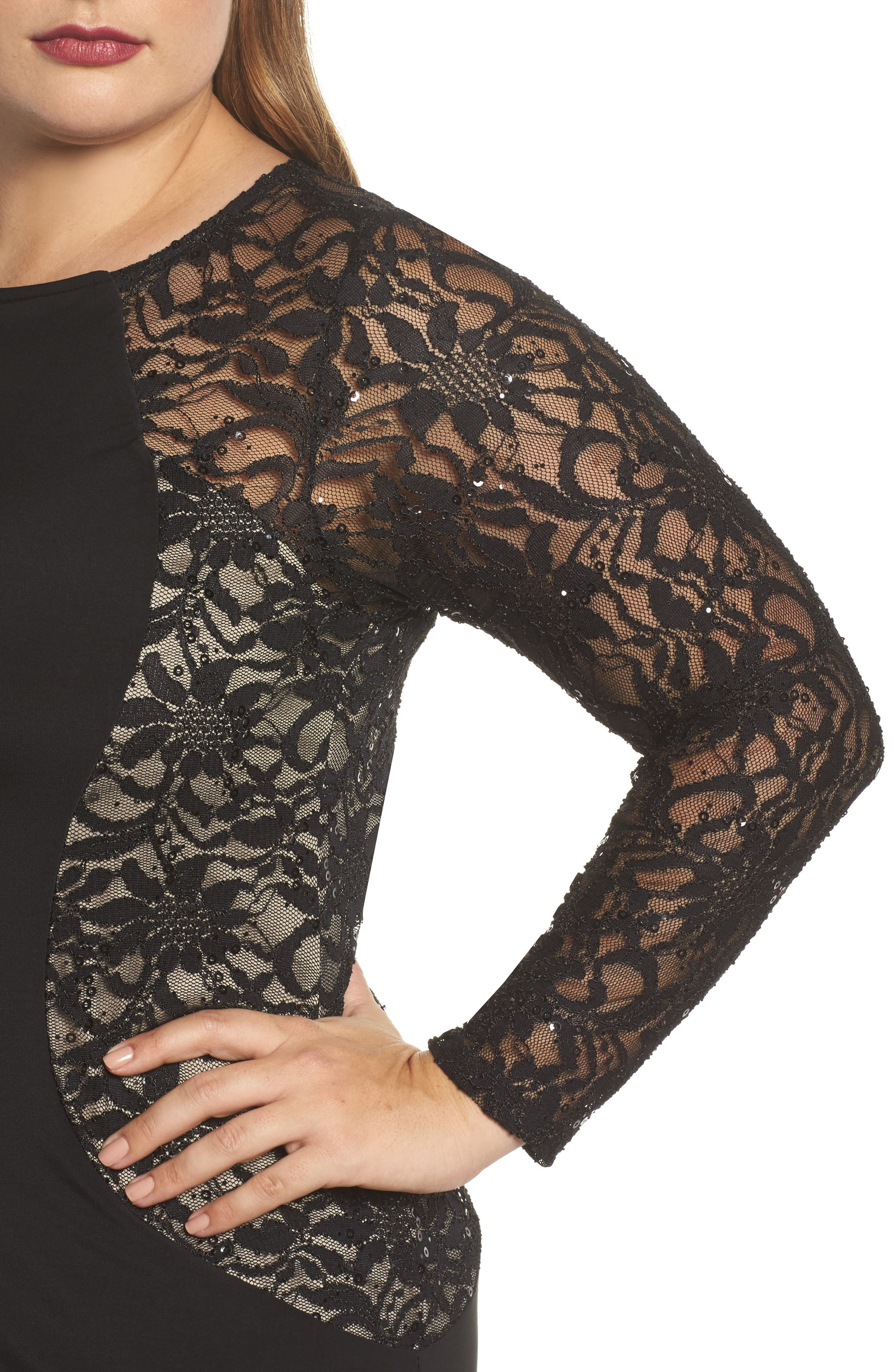 Alternate Image 4  - Marina Lace & Knit A-Line Gown (Plus Size)