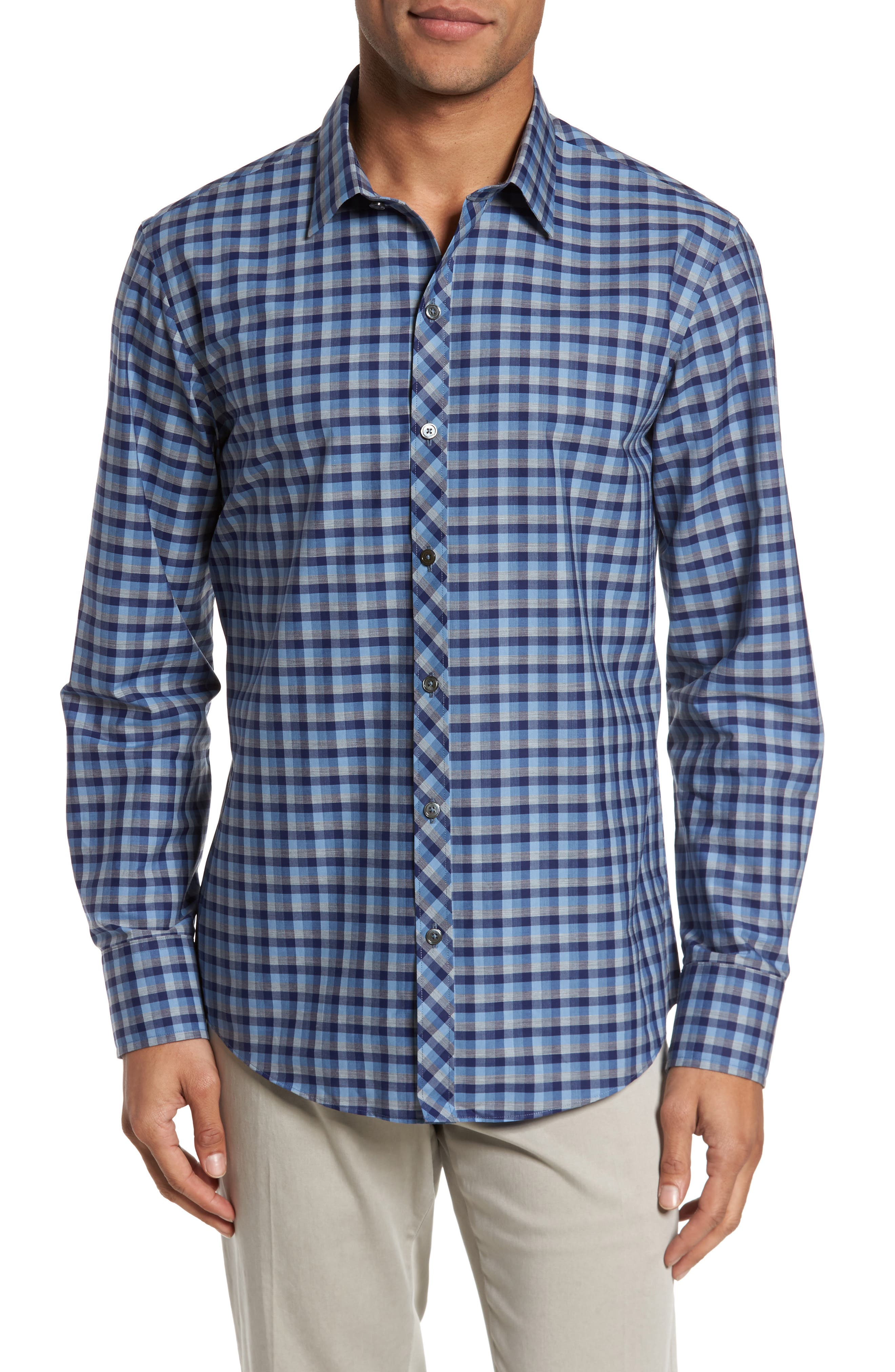 Dane Check Sport Shirt,                             Main thumbnail 1, color,                             Light Blue