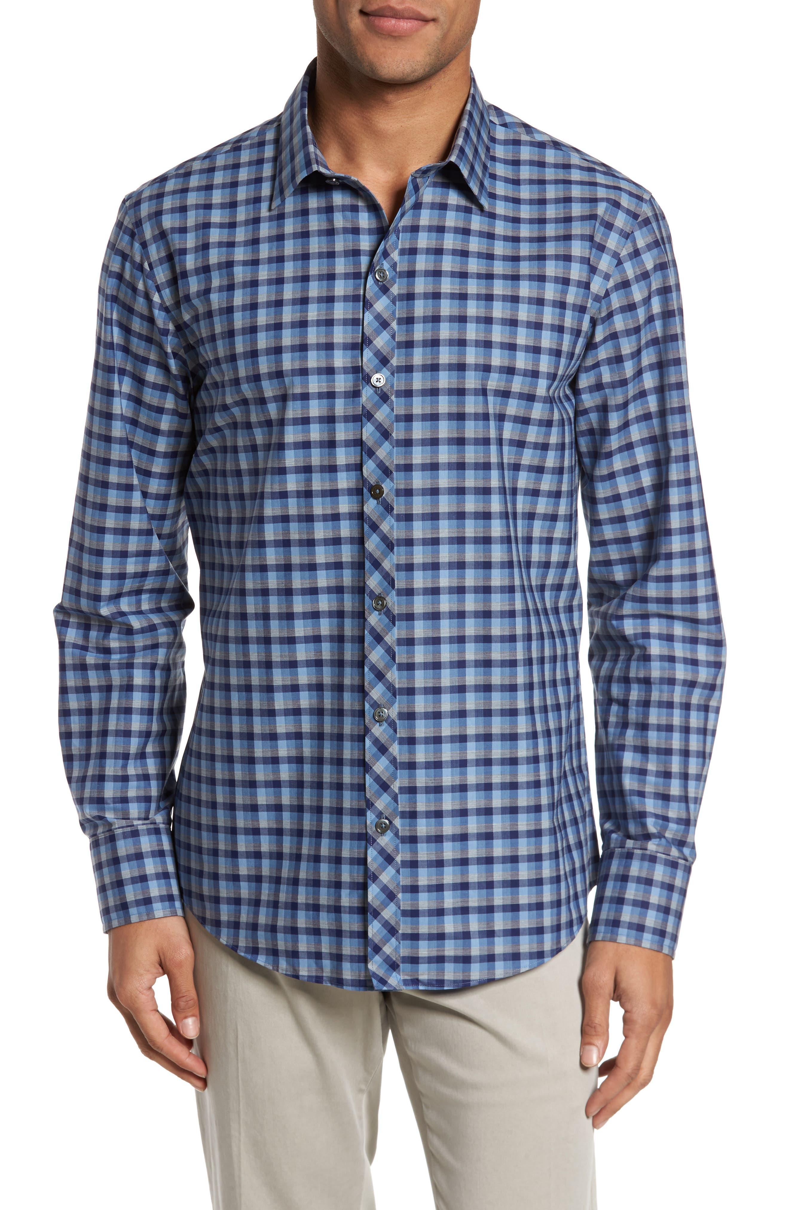 Dane Check Sport Shirt,                         Main,                         color, Light Blue