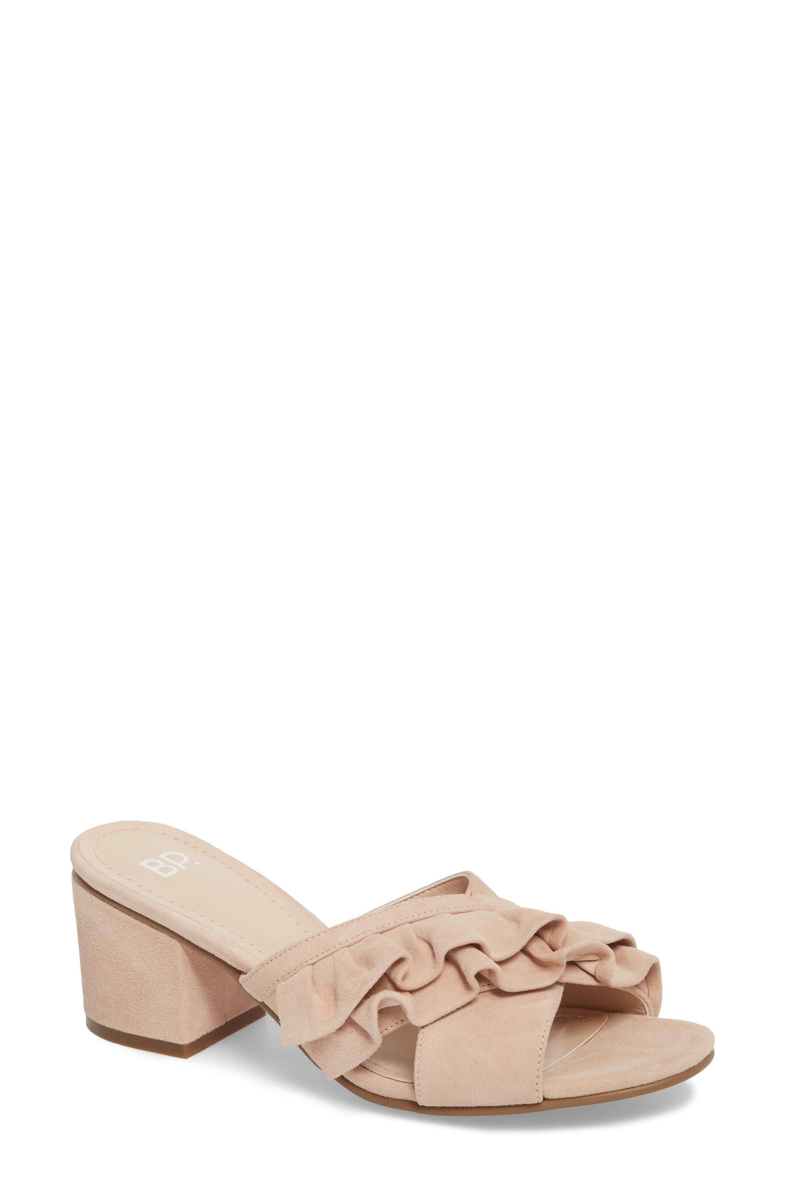 BP. Shari Ruffle Strap Slide Sandal (Women)