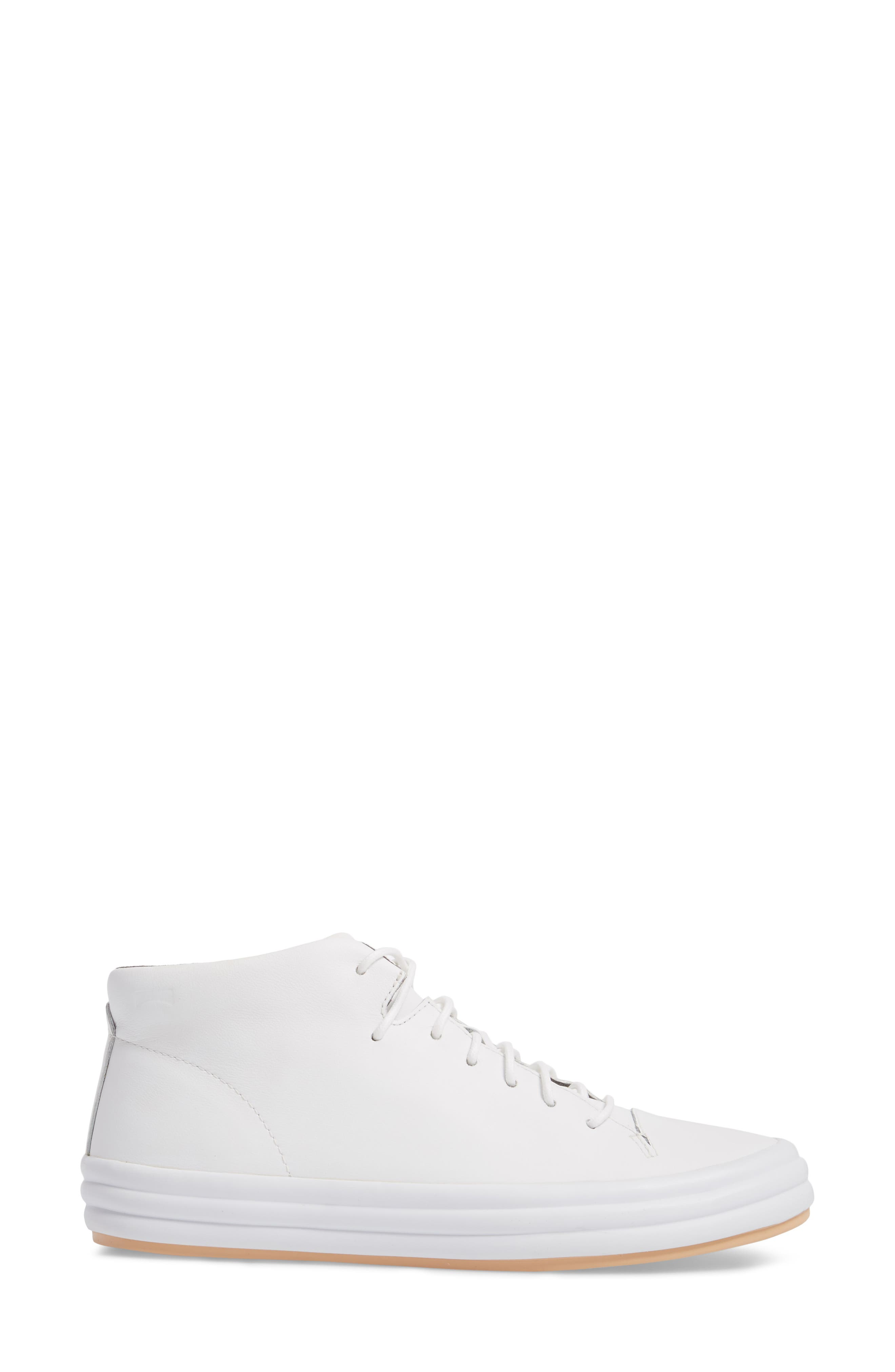 Hoops Mid Top Sneaker,                             Alternate thumbnail 3, color,                             White Natural Leather