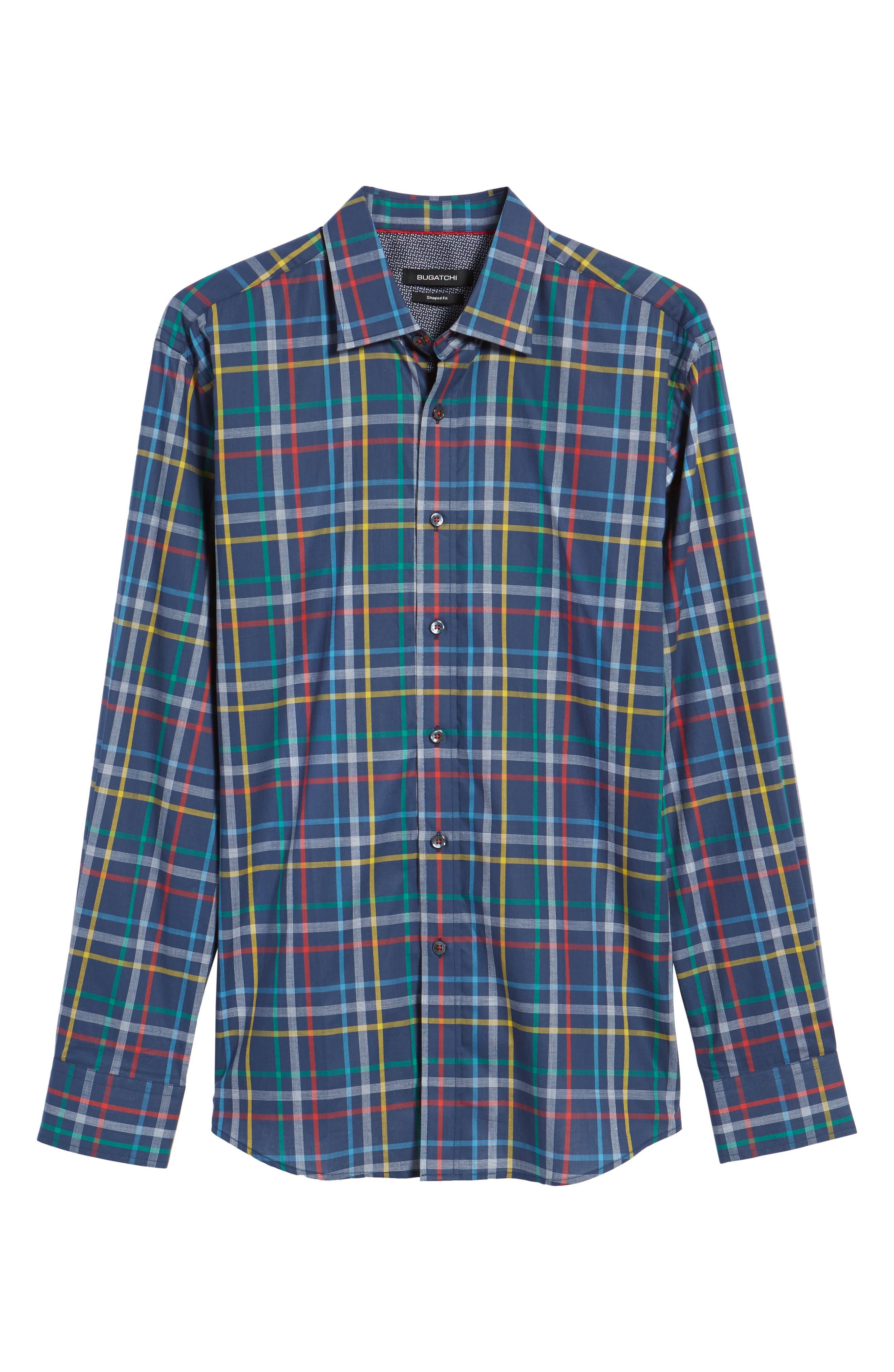 Shaped Fit Plaid Sport Shirt,                             Alternate thumbnail 6, color,                             Navy