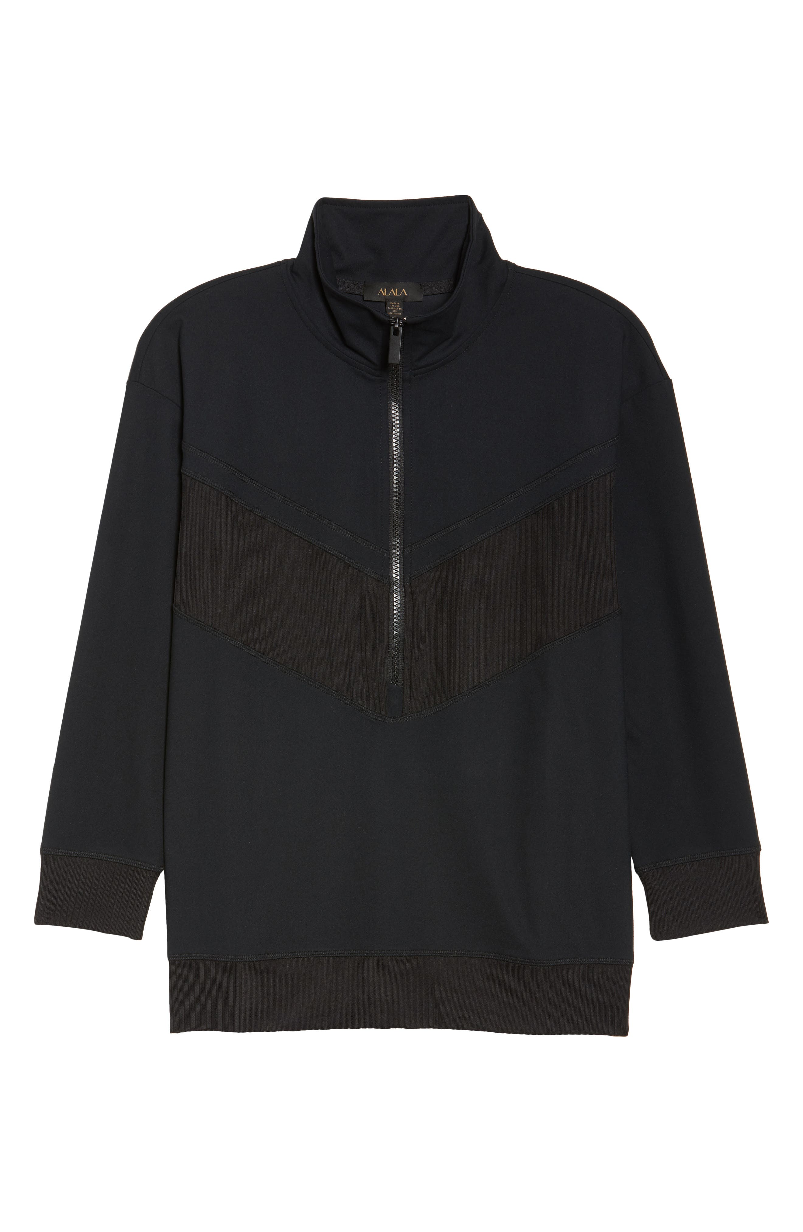 Cato Quarter Zip Pullover,                             Alternate thumbnail 7, color,                             Black