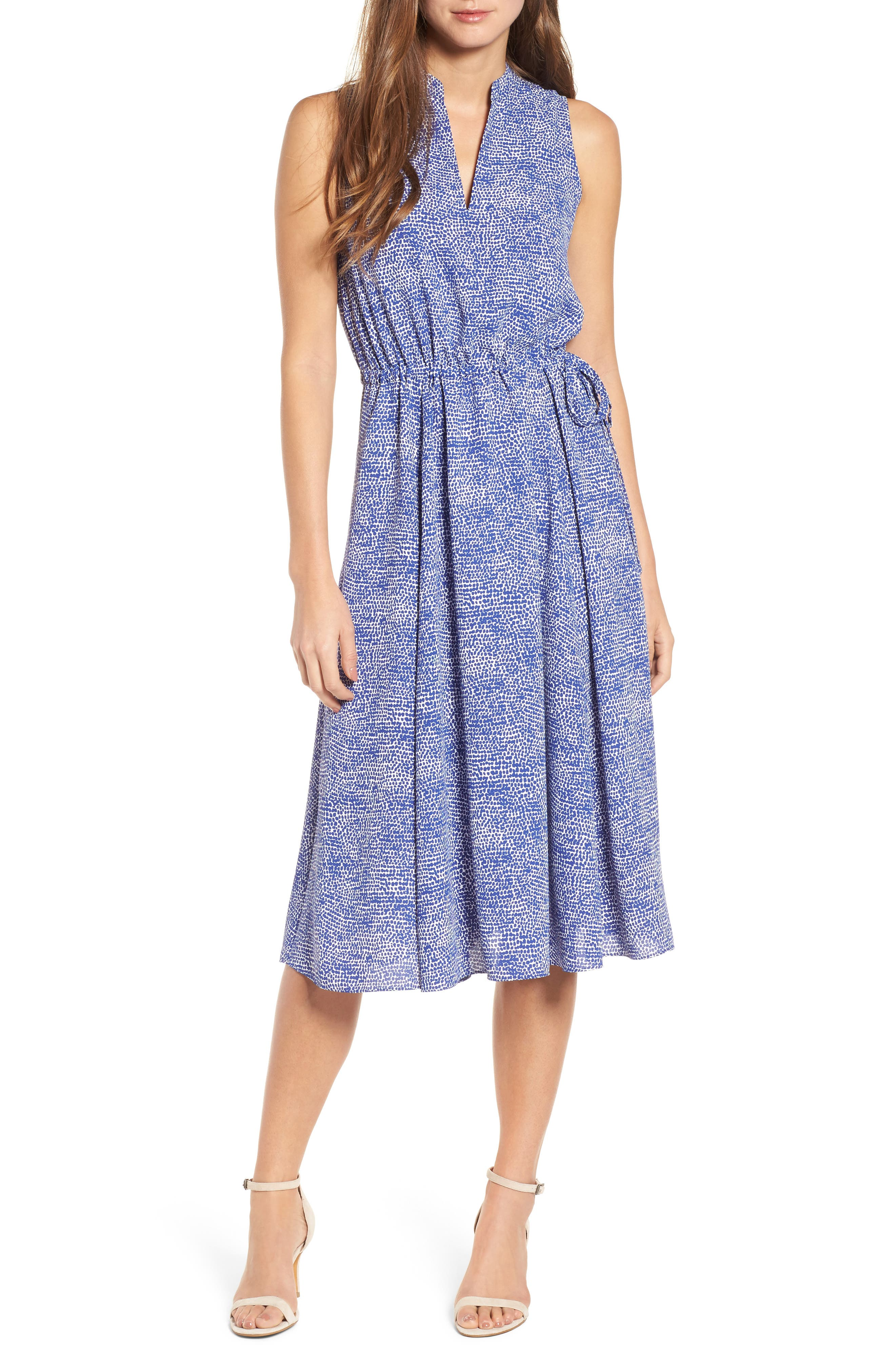 Print Drawstring Midi Dress,                         Main,                         color, O Keefe Blue/ White Combo