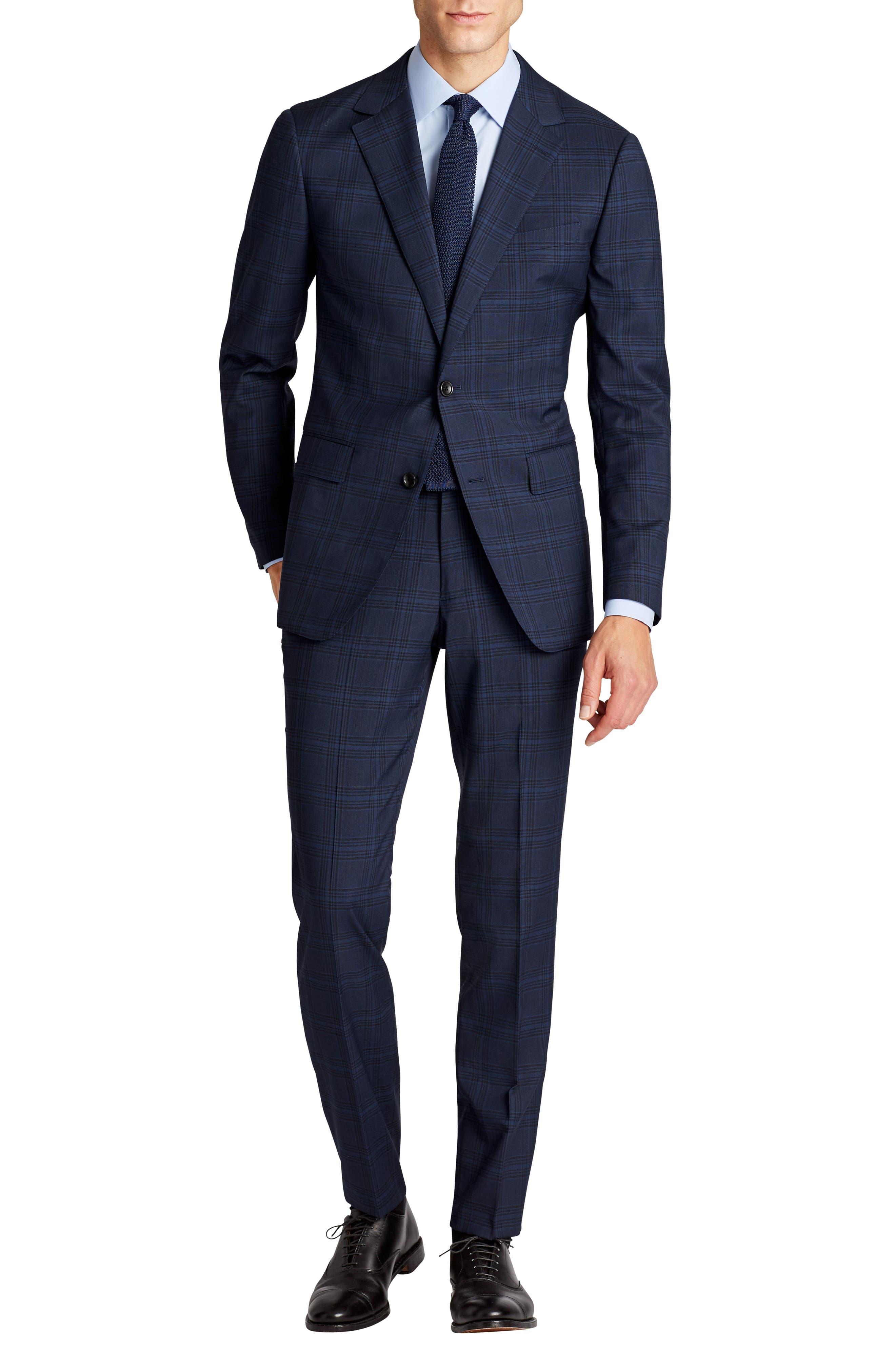 Jetsetter Trim Fit Stretch Plaid Wool Blend Suit Jacket,                             Alternate thumbnail 6, color,                             Navy Plaid