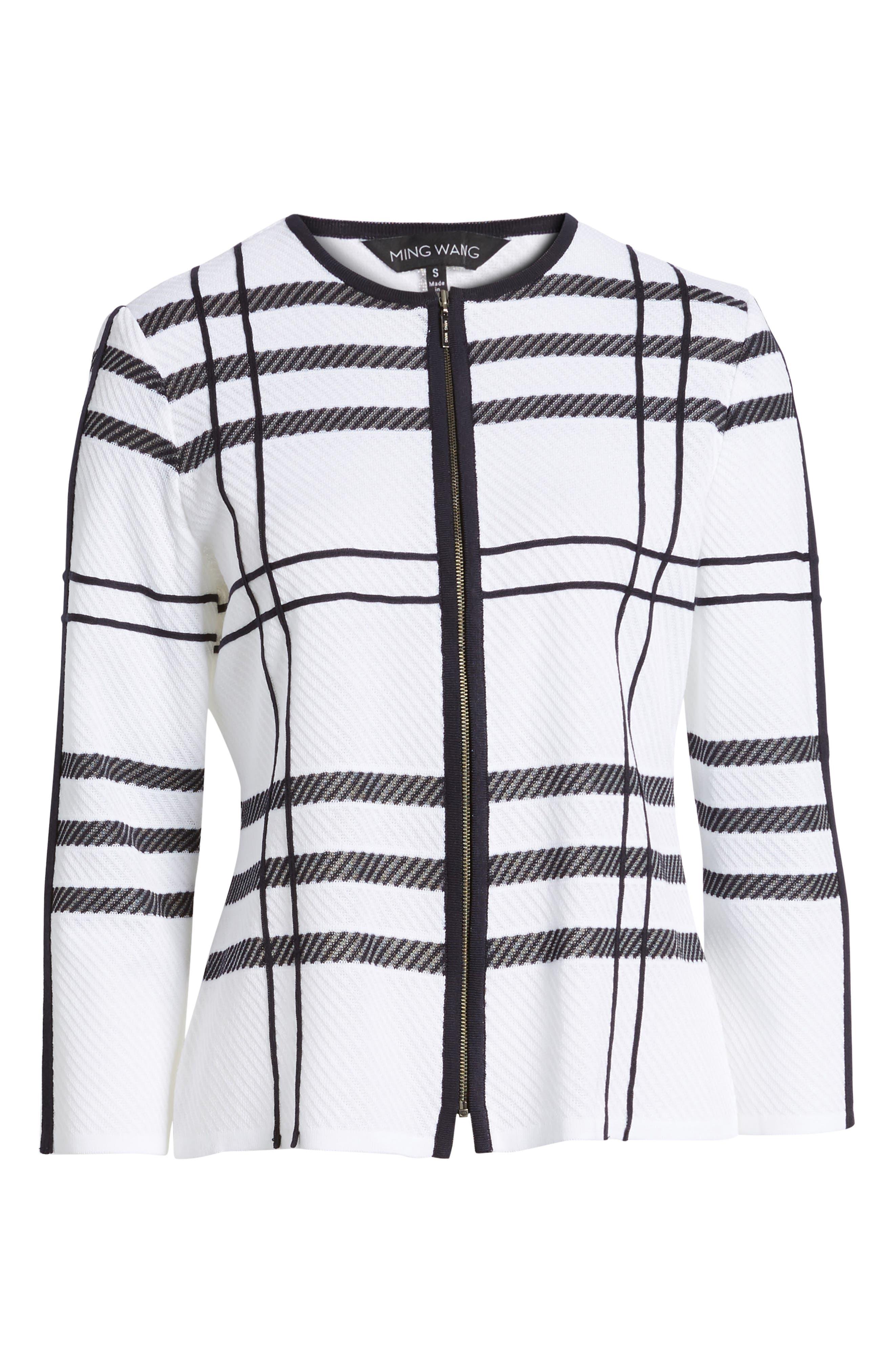 Plaid Jacquard Jacket,                             Alternate thumbnail 6, color,                             White/ Navy