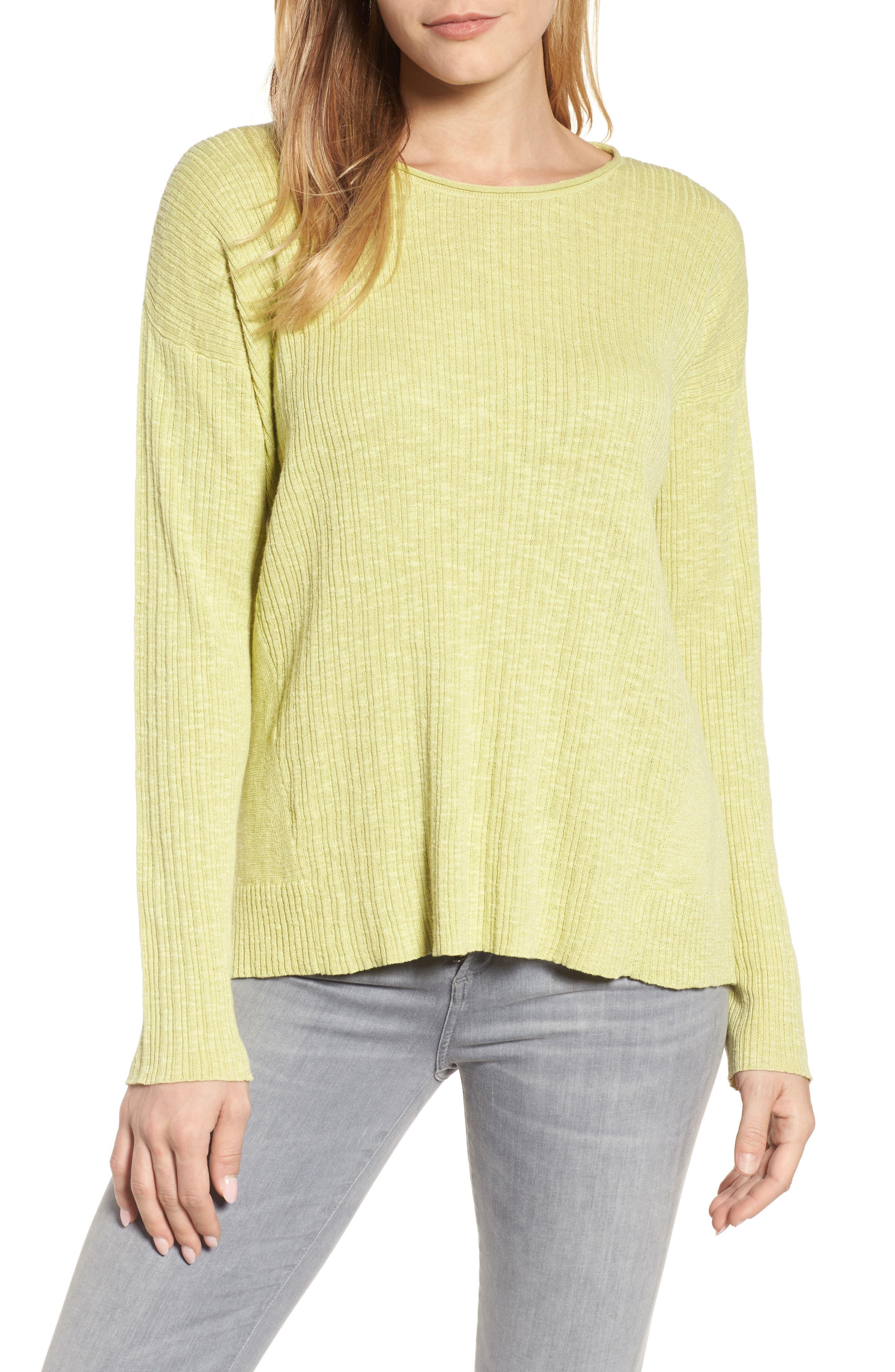 Alternate Image 1 Selected - Eileen Fisher Organic Linen & Cotton Crewneck Sweater (Regular & Petite)