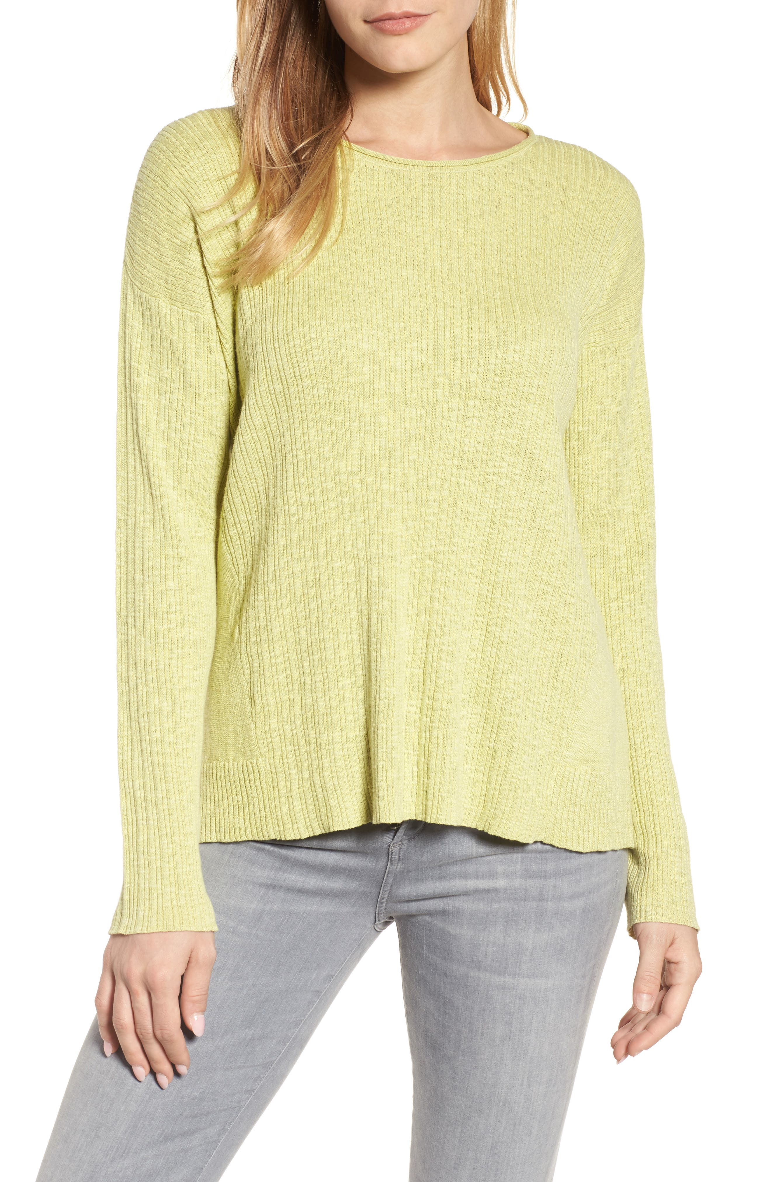Main Image - Eileen Fisher Organic Linen & Cotton Crewneck Sweater (Regular & Petite)