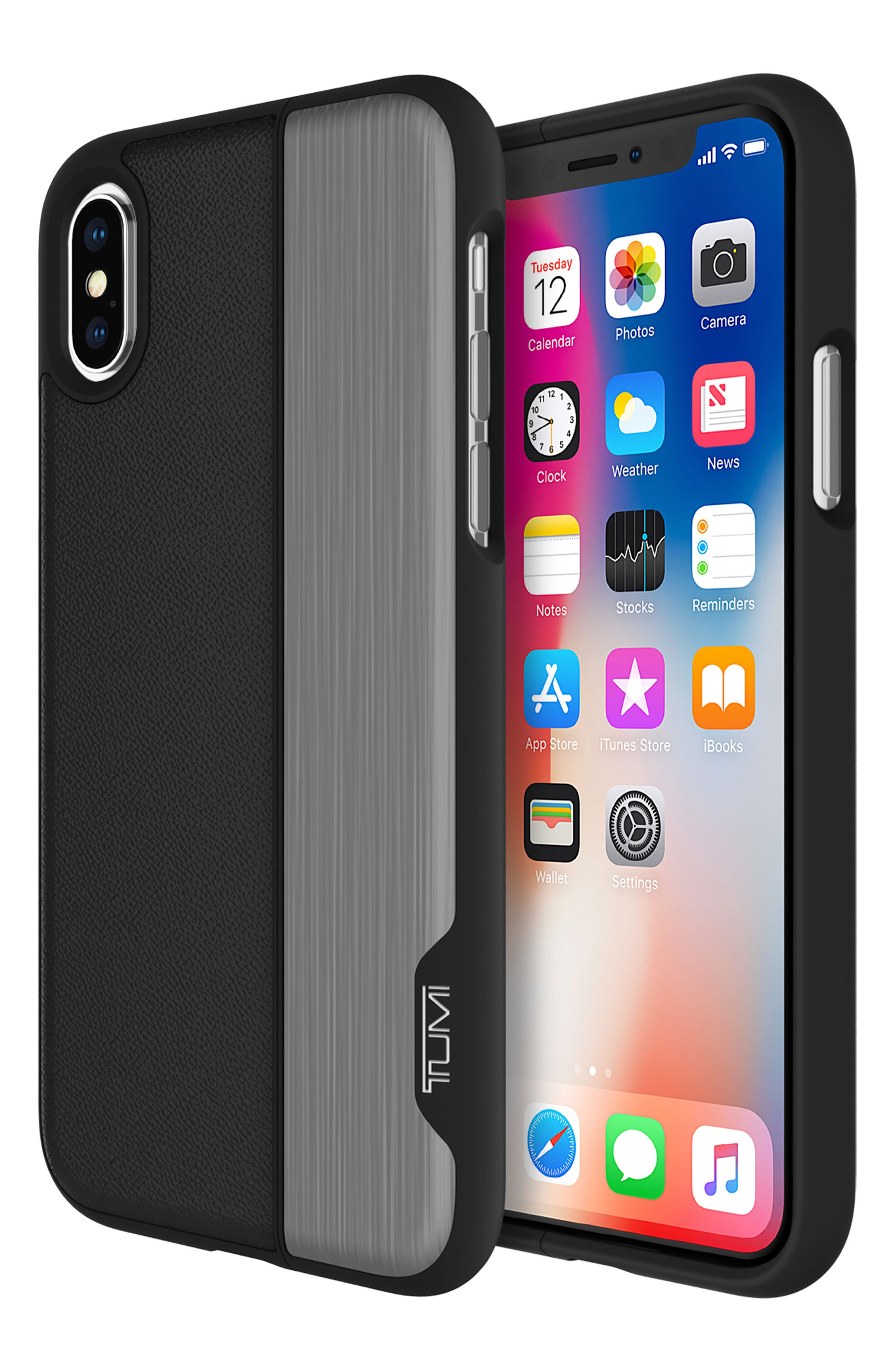 Vertical Slider iPhone X Case,                             Alternate thumbnail 6, color,                             Black Gunmetal