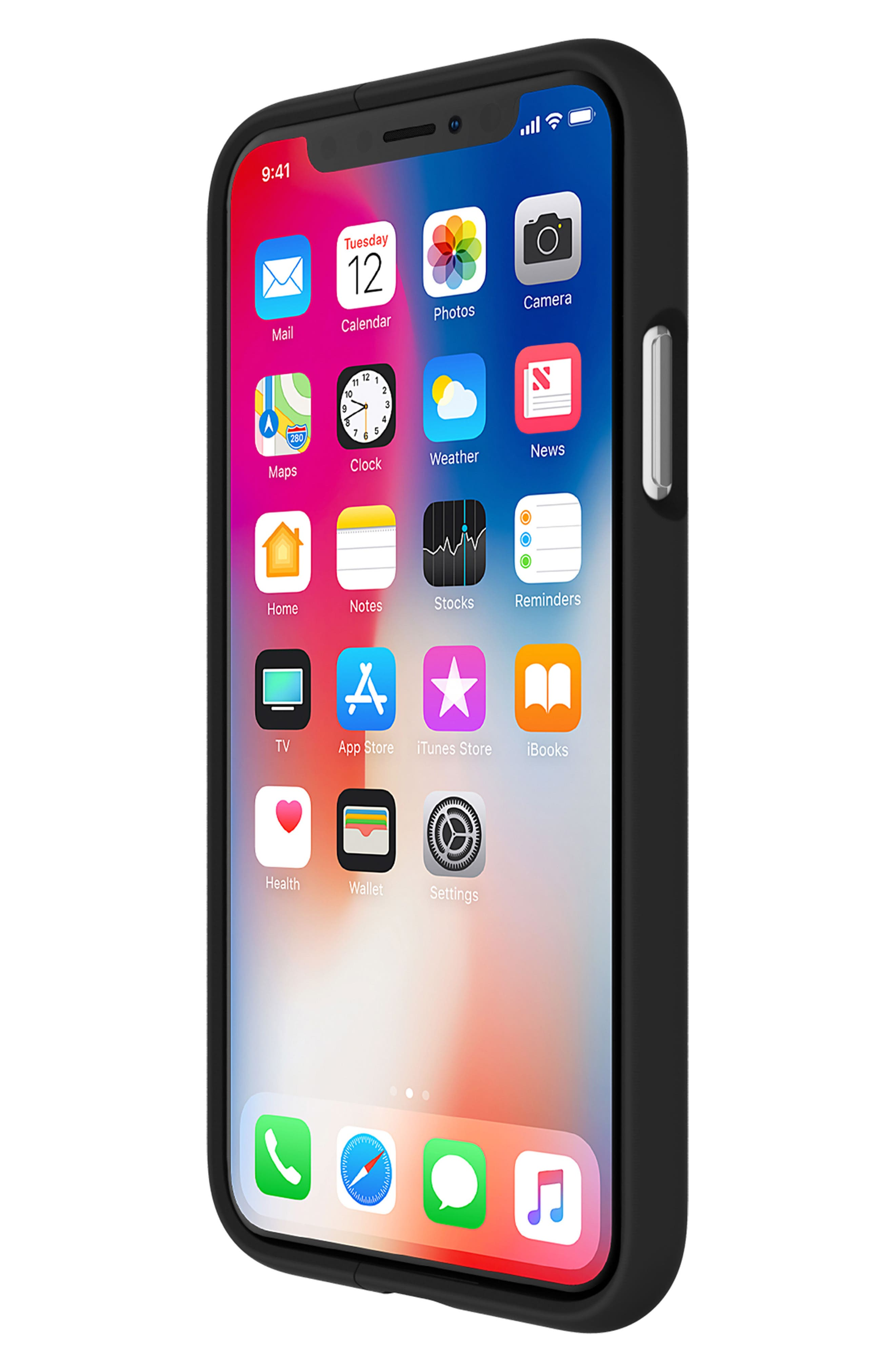 Vertical Slider iPhone X Case,                             Alternate thumbnail 3, color,                             Black Gunmetal