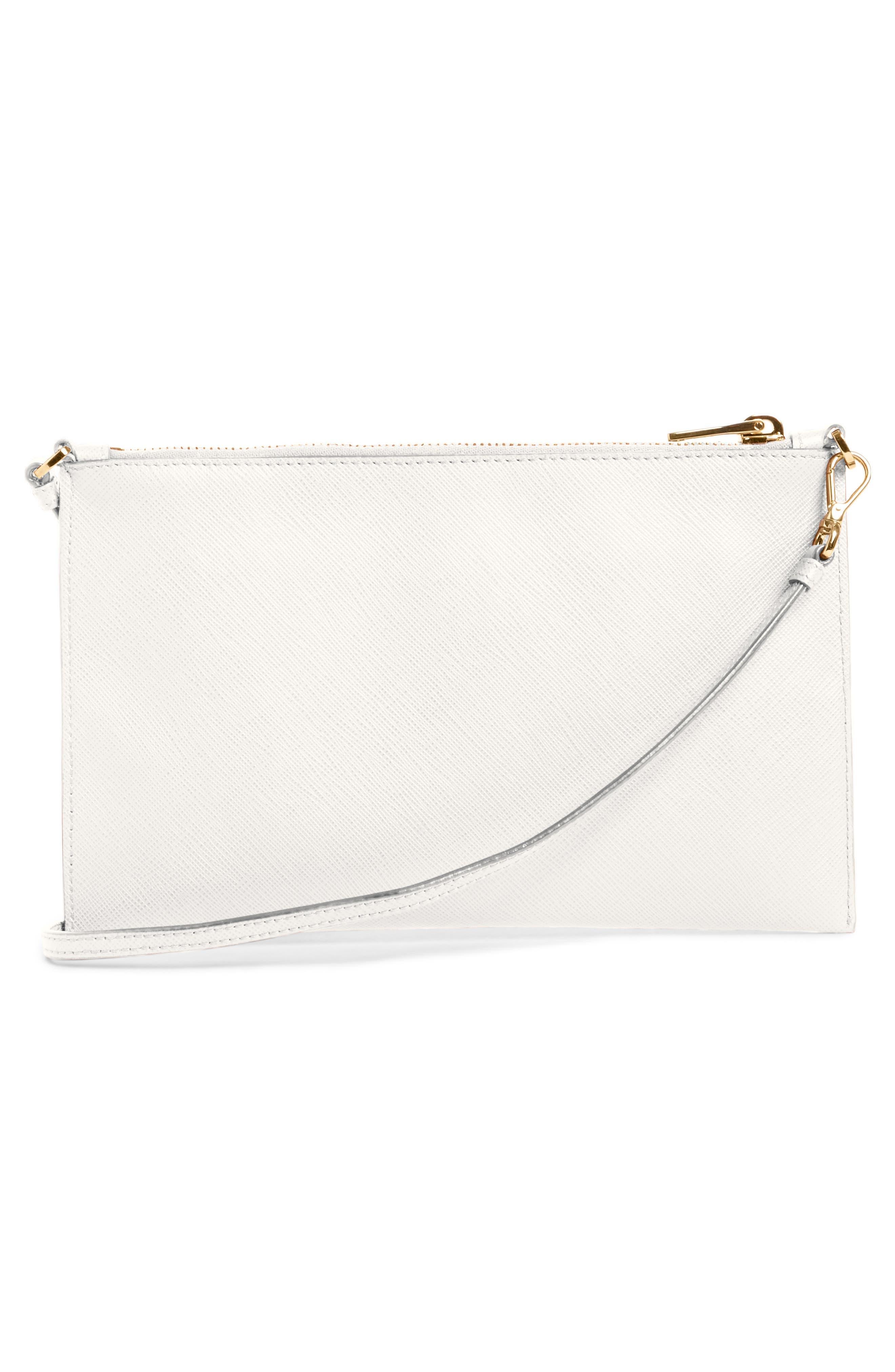 Saffiano Leather Shoulder Bag,                             Alternate thumbnail 3, color,                             F0009 Bianco