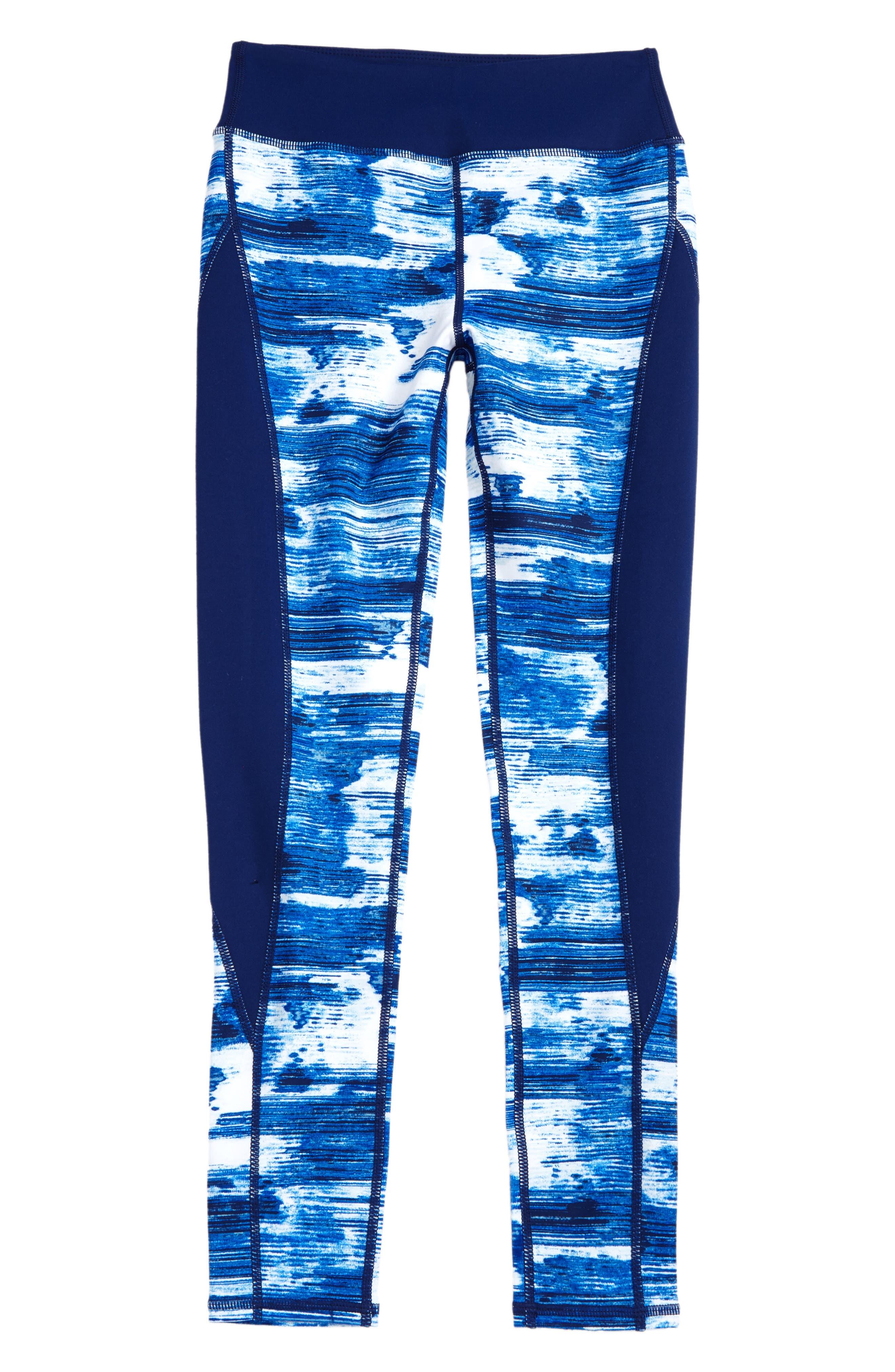 Print High Waist Leggings,                             Main thumbnail 1, color,                             Blue Vivid Technostatic