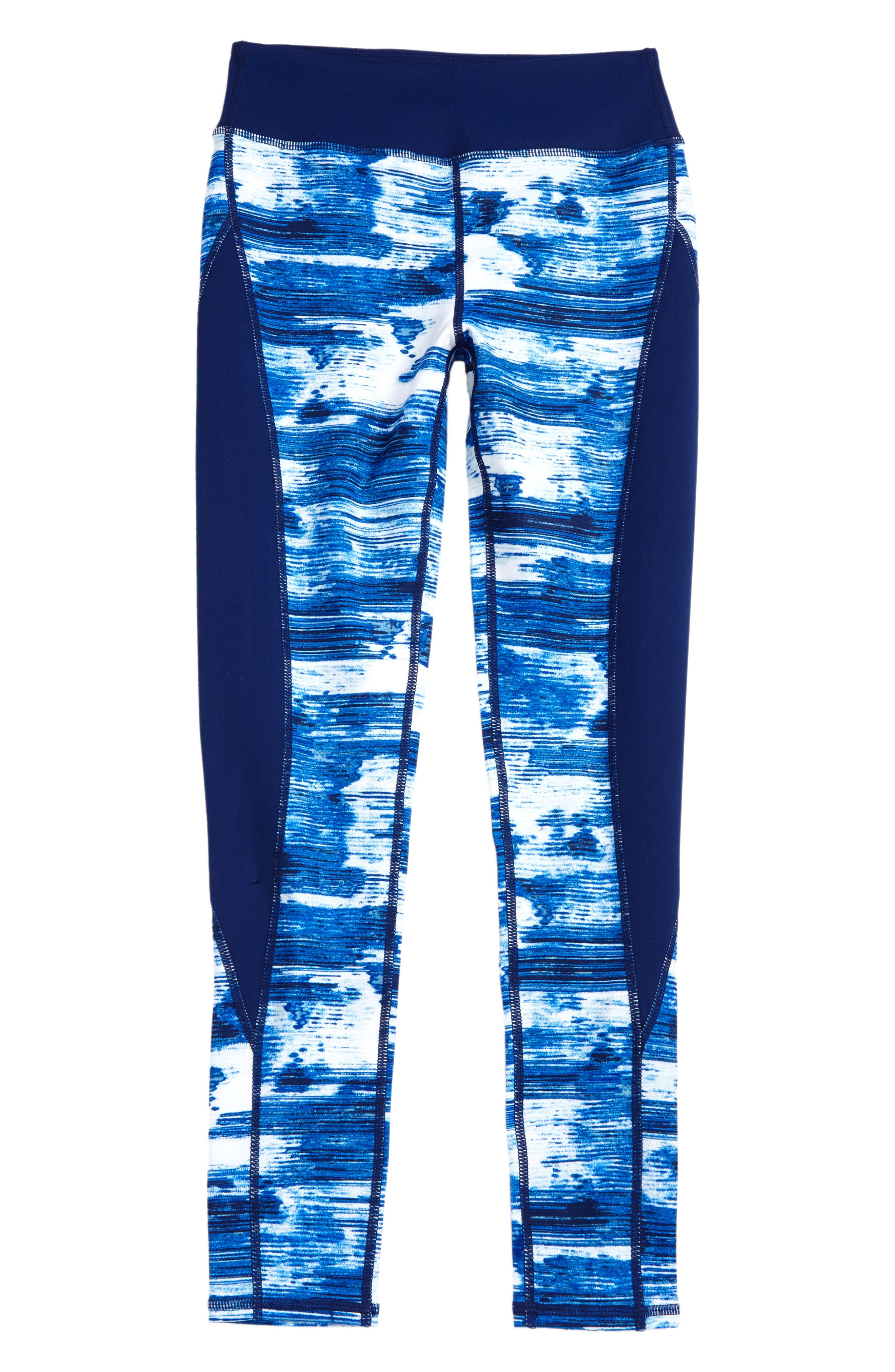 Print High Waist Leggings,                         Main,                         color, Blue Vivid Technostatic