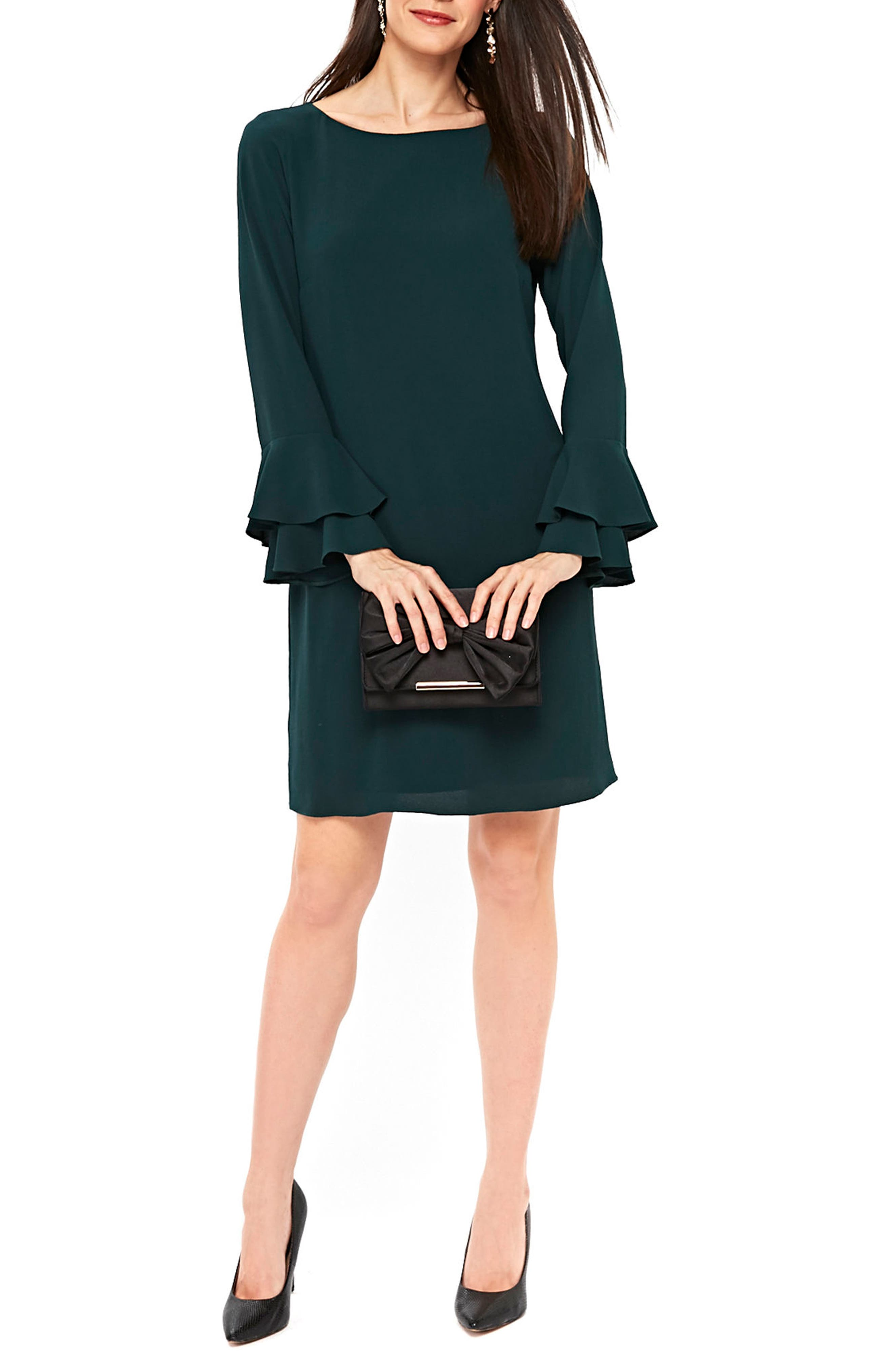 Double Bell Sleeve Shift Dress,                         Main,                         color, Green