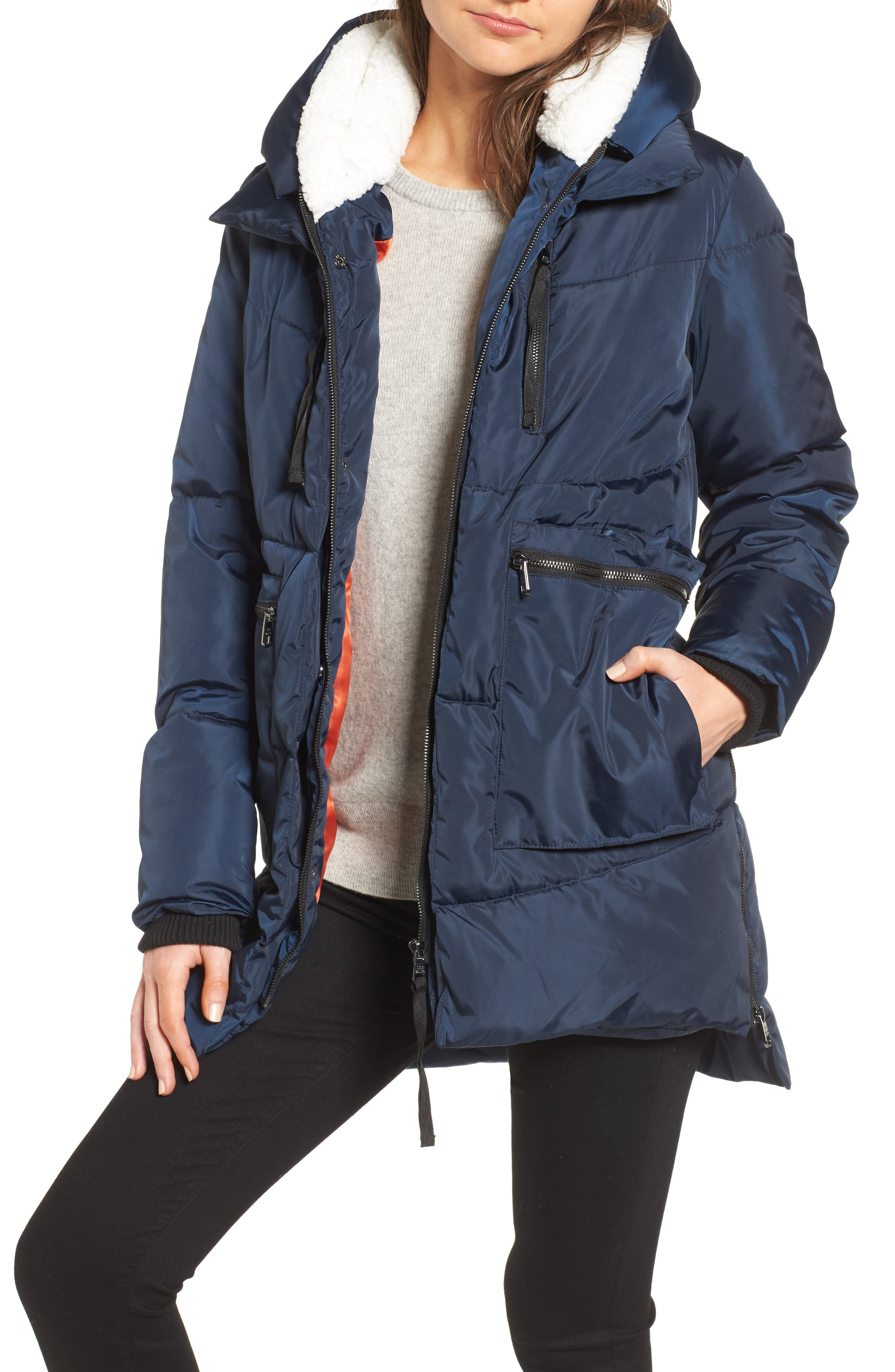 Main Image - Steve Madden Hooded Puffer Jacket with Faux Shearling Trim