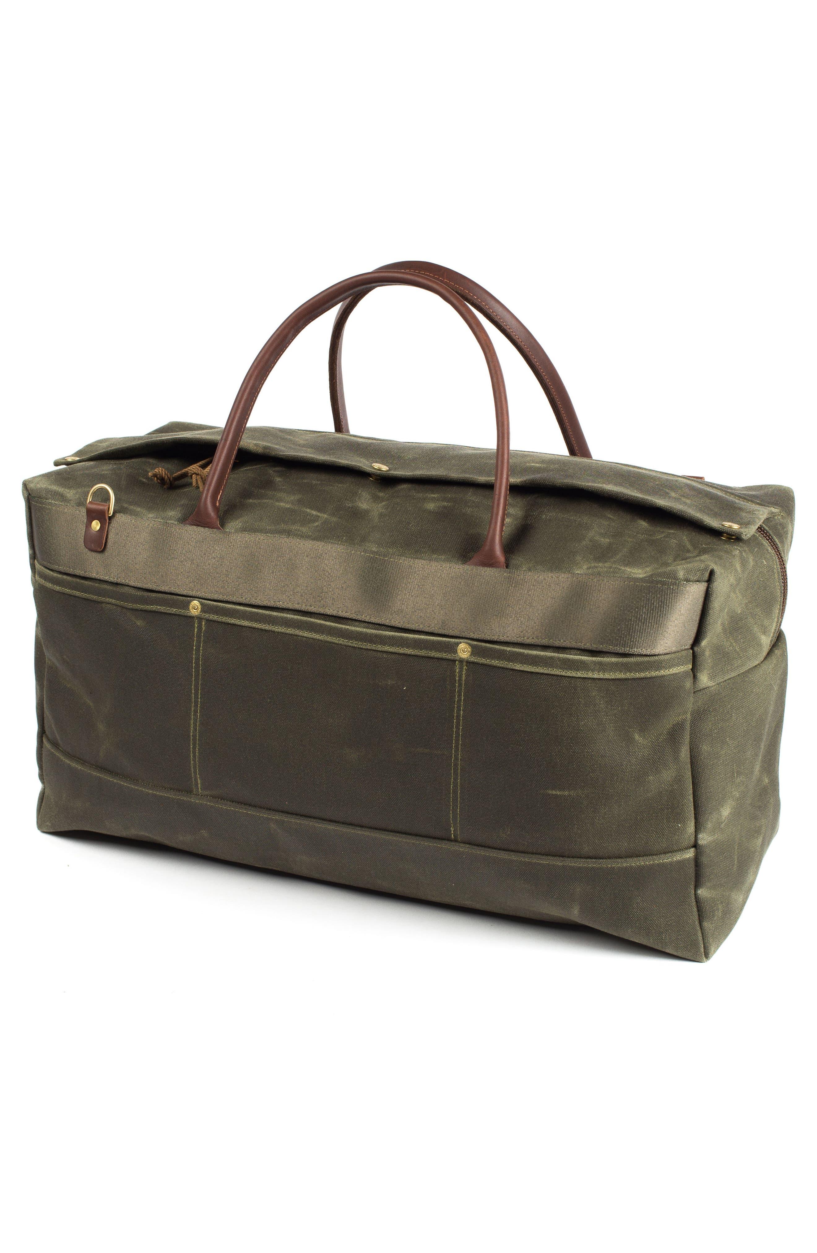 Grand Tourer Waxed Canvas Duffel Bag,                             Alternate thumbnail 3, color,                             Balmoral Moss