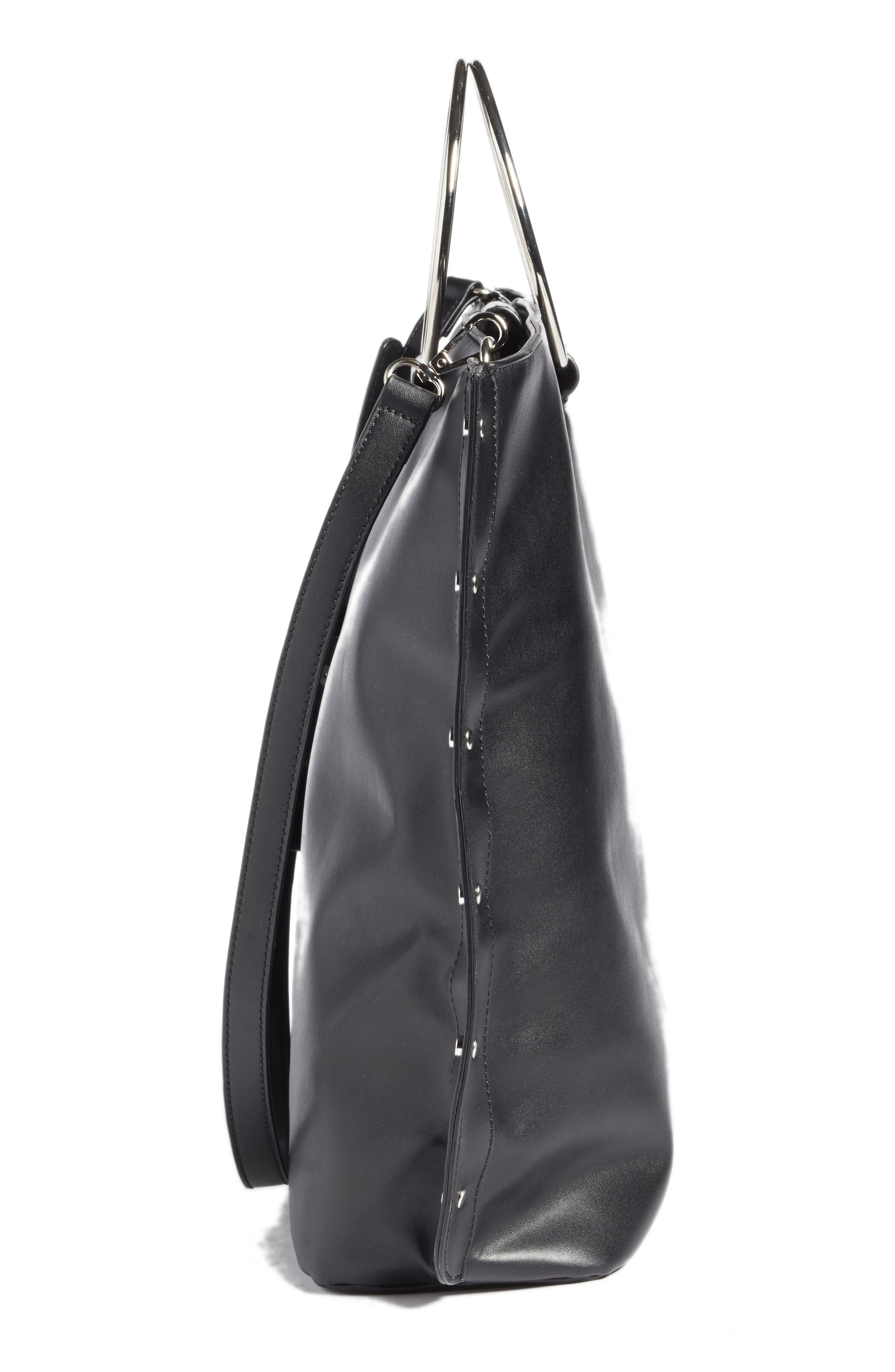Ring Handle Faux Leather Tote,                             Alternate thumbnail 4, color,                             Black