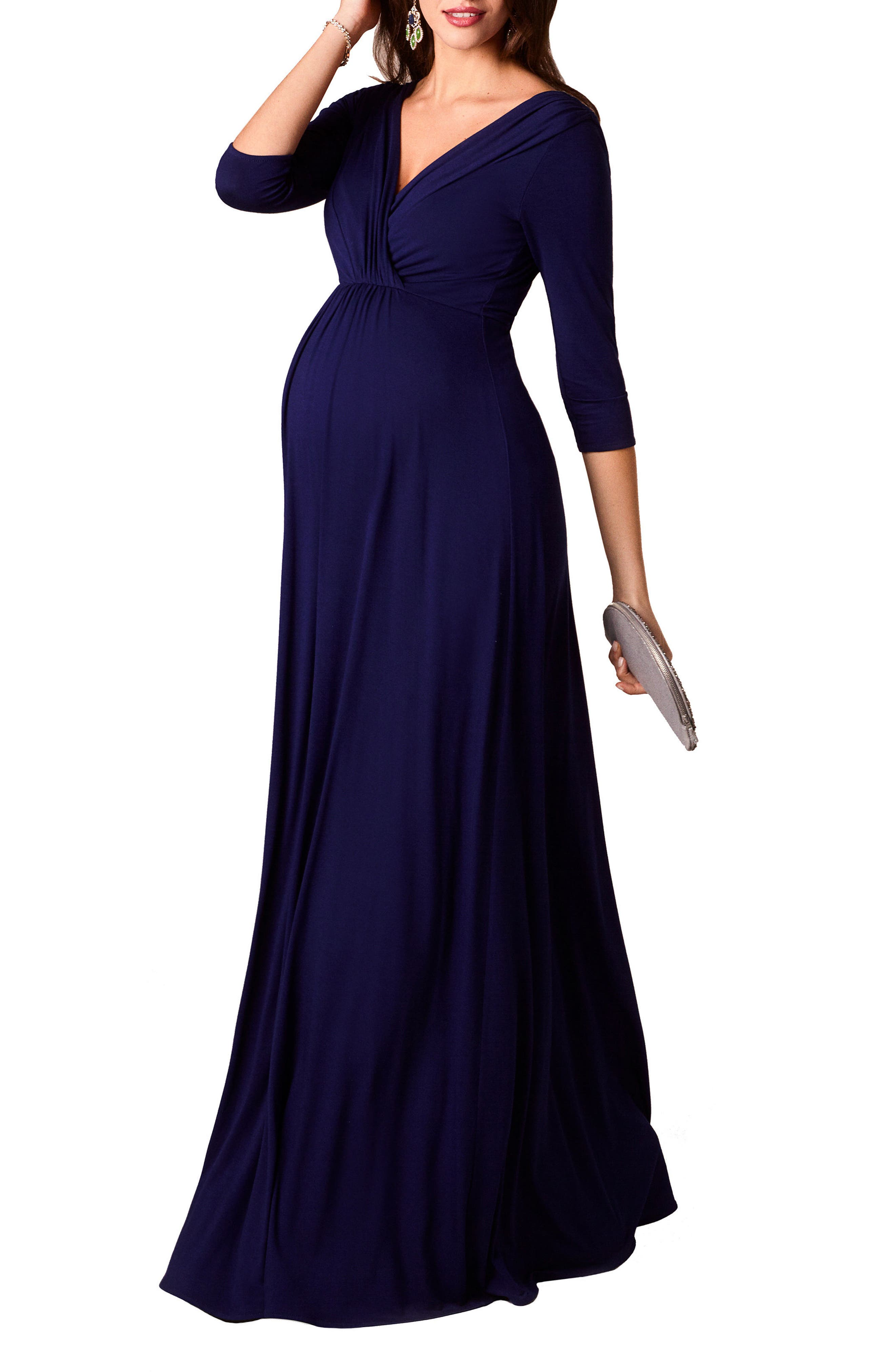 Willow Maternity Gown,                         Main,                         color, Eclipse Blue