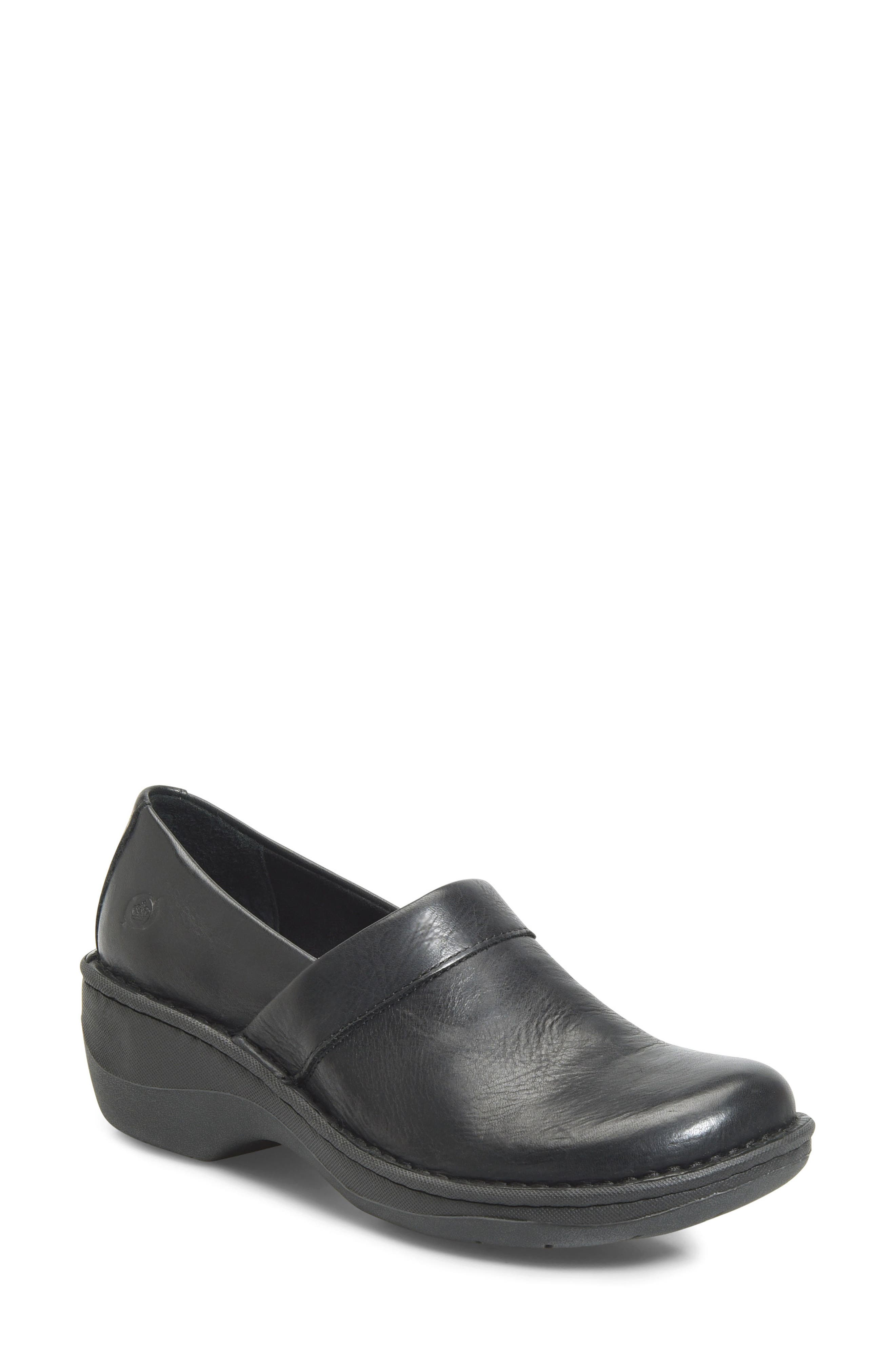 Born Askel Clog,                             Main thumbnail 1, color,                             Black Leather